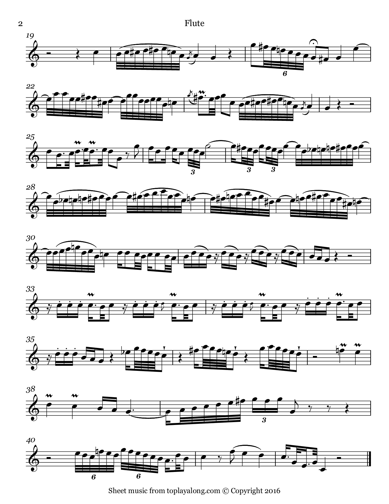 Lièto così talvolta from Adriano in Siria by Pergolesi. Sheet music for Flute, page 2.