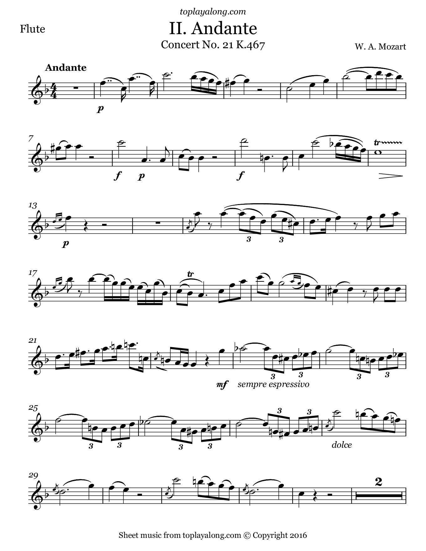 Concerto No. 21 K.467 (2nd Mvt. Theme) by Mozart. Sheet music for Flute, page 1.