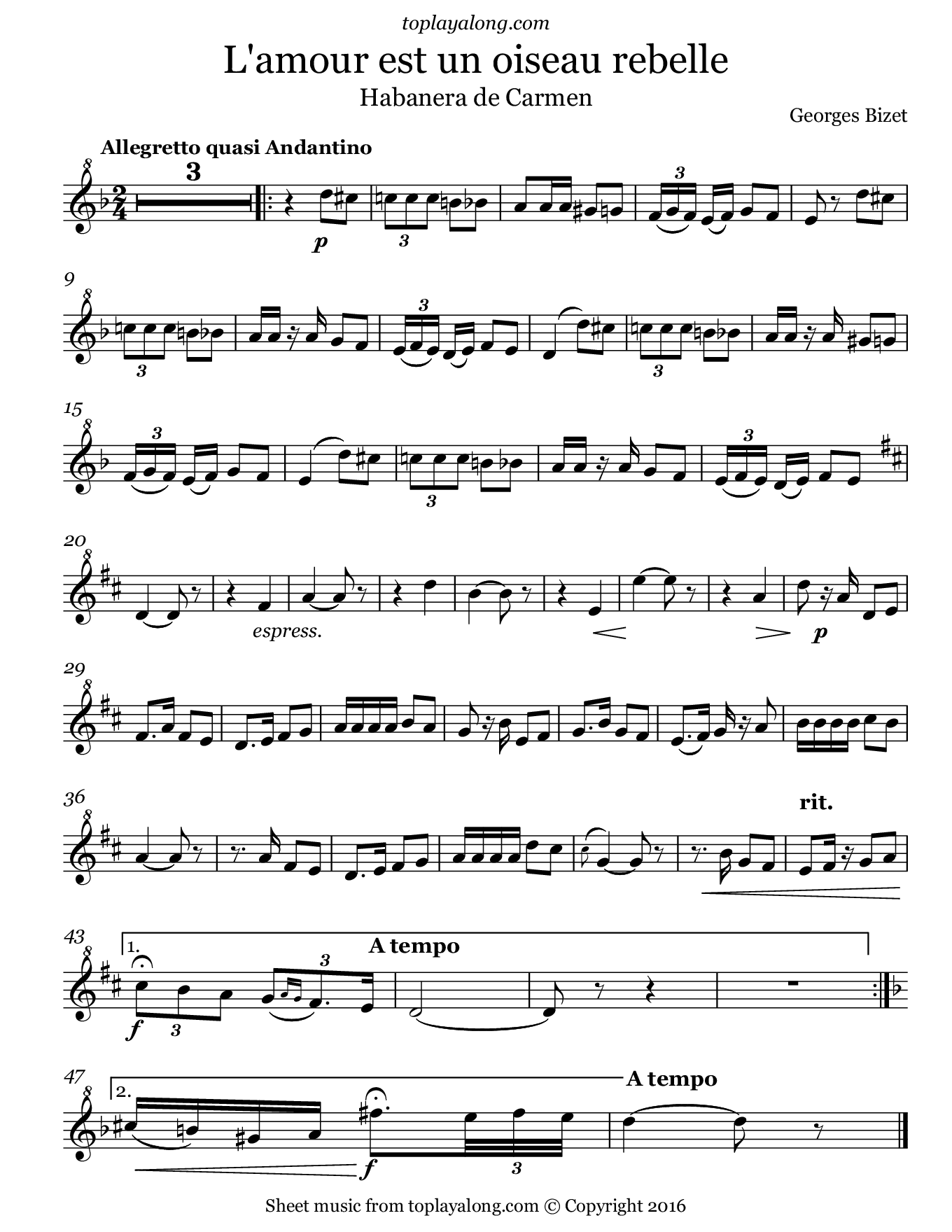 Habanera from Carmen by Bizet. Sheet music for Recorder, page 1.