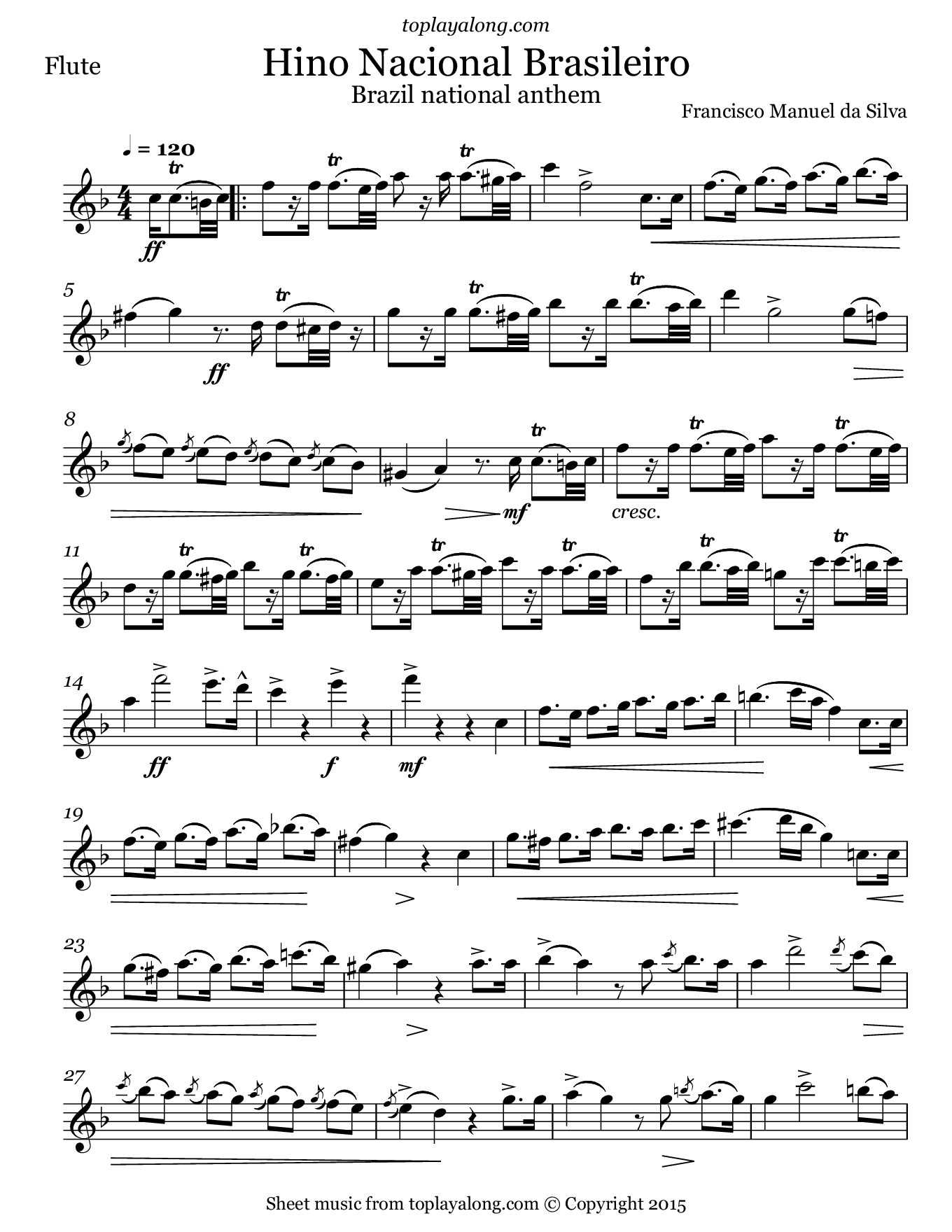 National Anthem of Brazil. Sheet music for Flute, page 1.