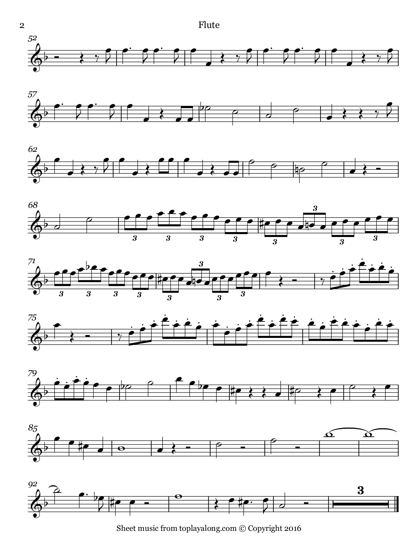 Queen of the Night from The Magic Flute by Mozart. Sheet music for Flute, page 2.