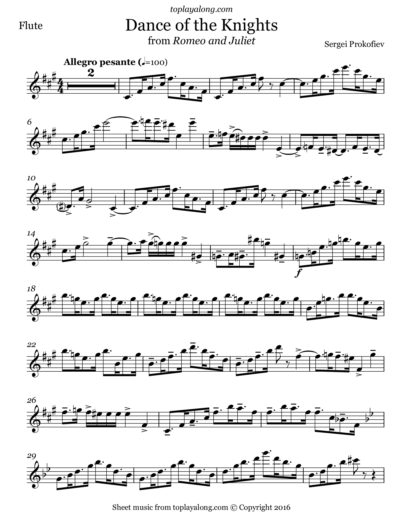 Dance of the Knights by Prokofiev. Sheet music for Flute, page 1.