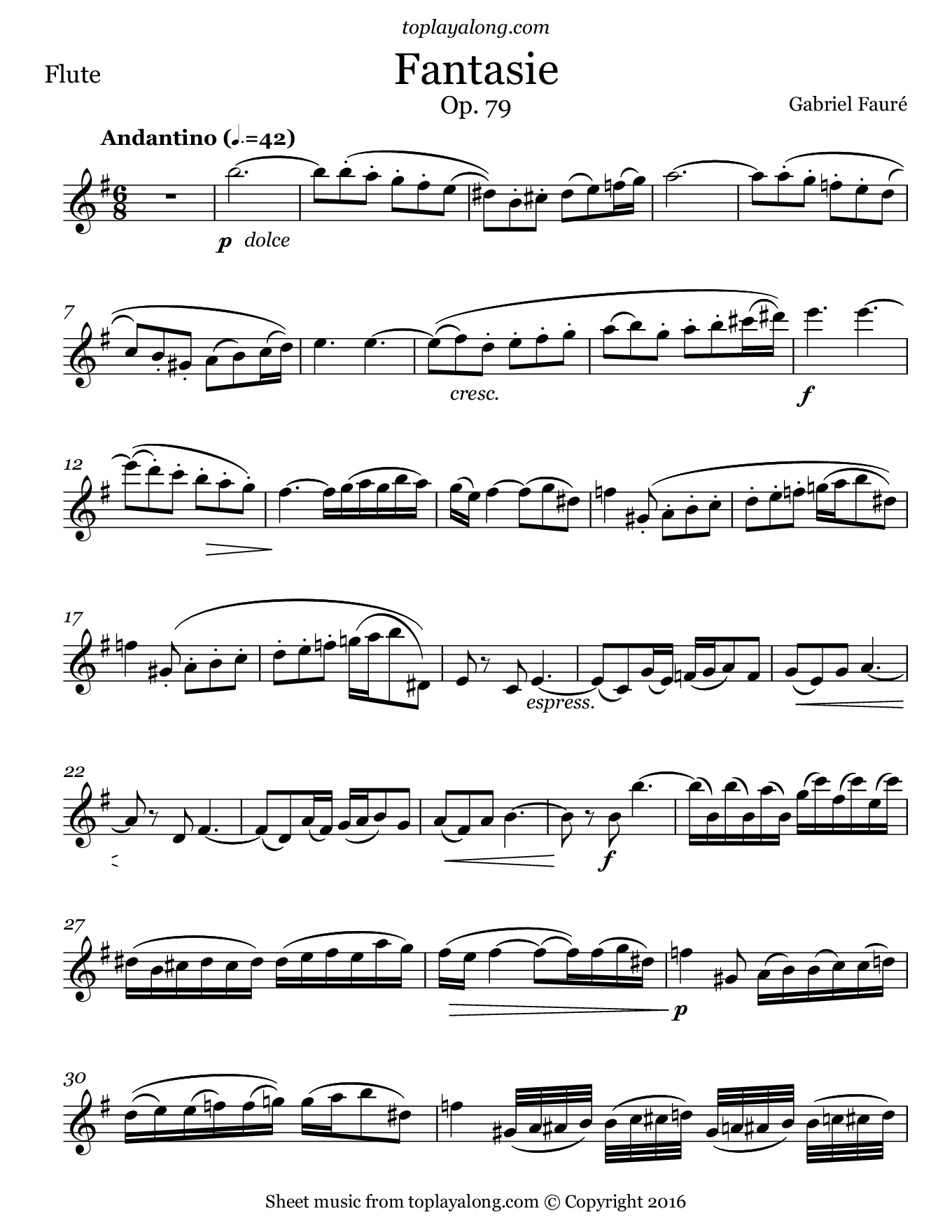 Fantasie Op. 79 by Fauré. Sheet music for Flute, page 1.