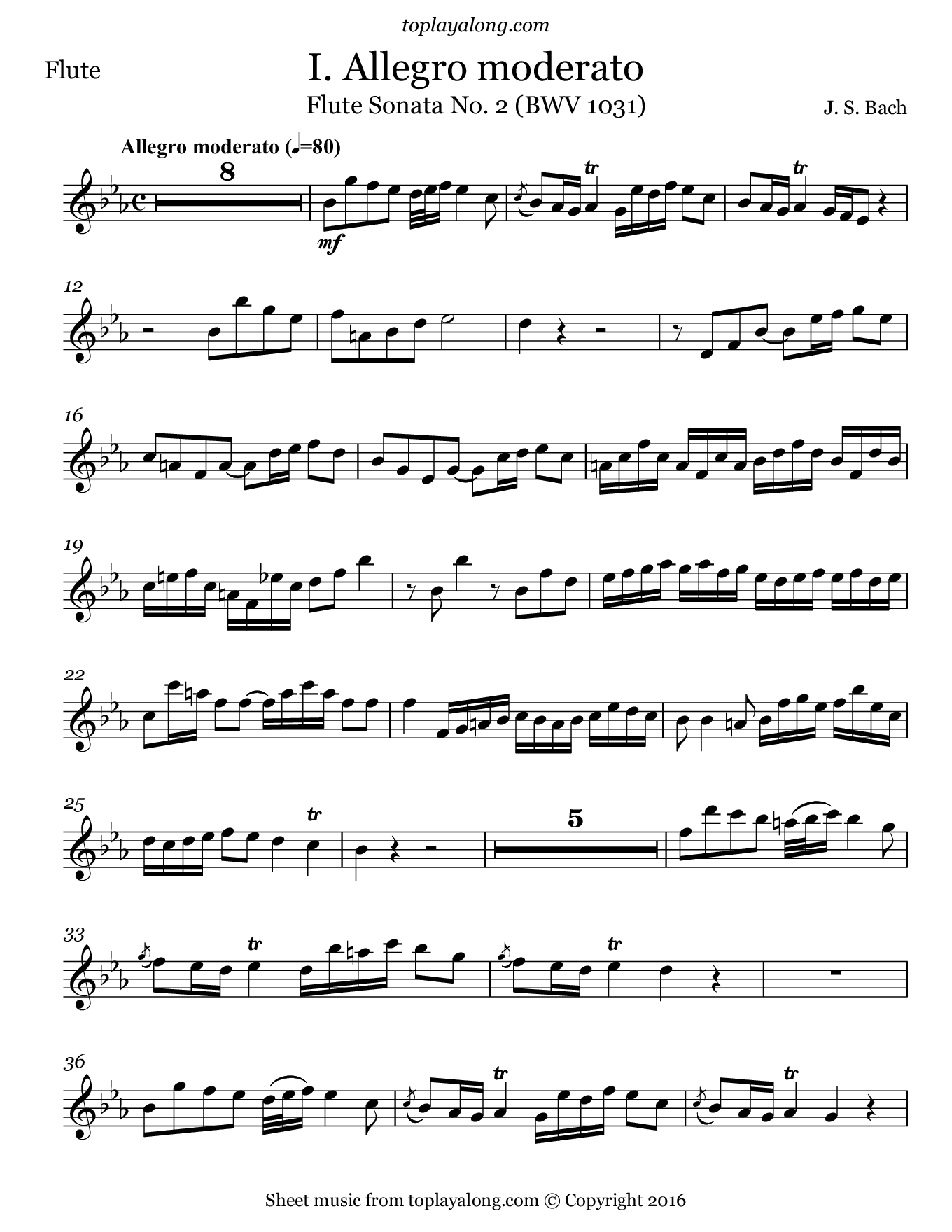 Flute Sonata BWV 1031 (I. Allegro) by J. S. Bach. Sheet music for Flute, page 1.