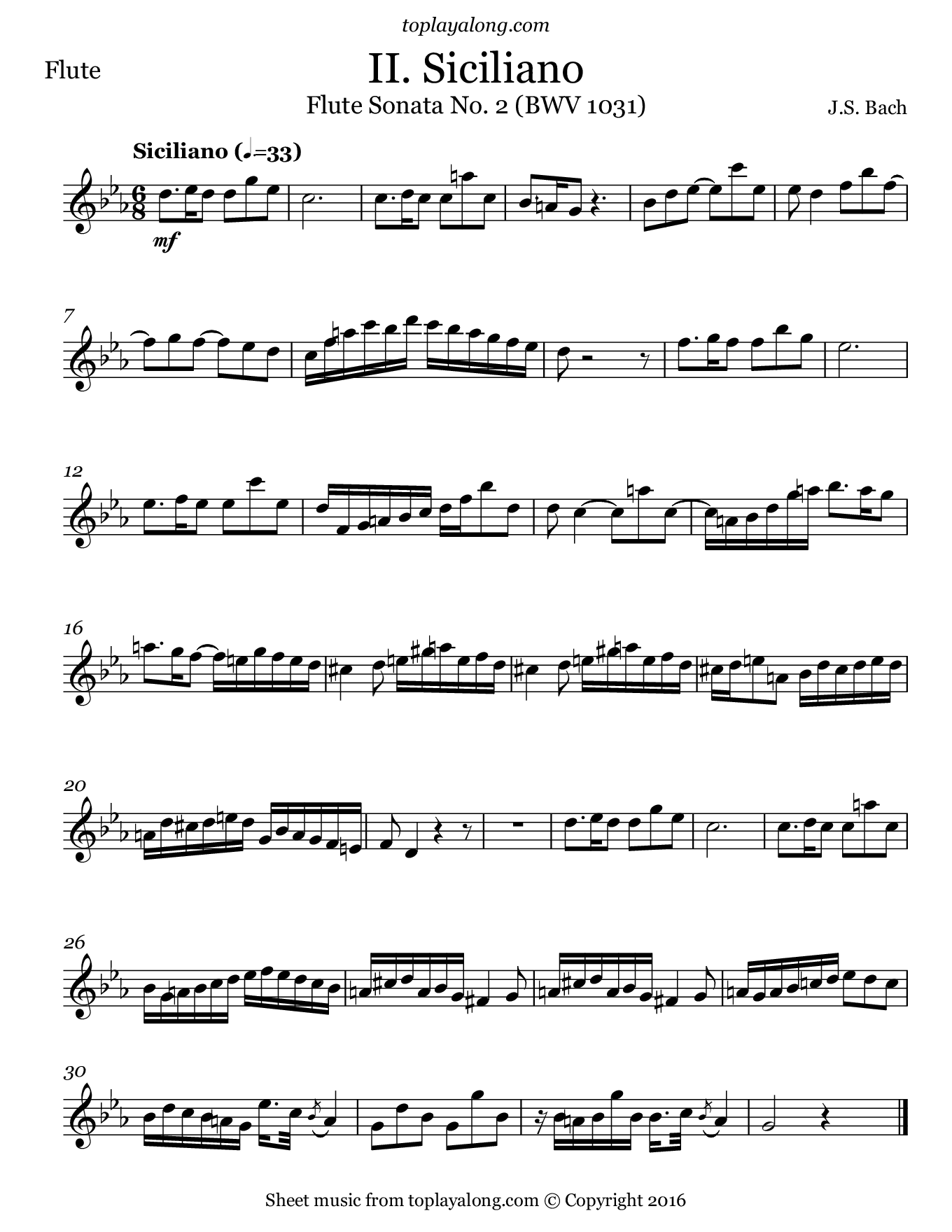 Flute Sonata BWV 1031 (II. Siciliano) by J. S. Bach. Sheet music for Flute, page 1.