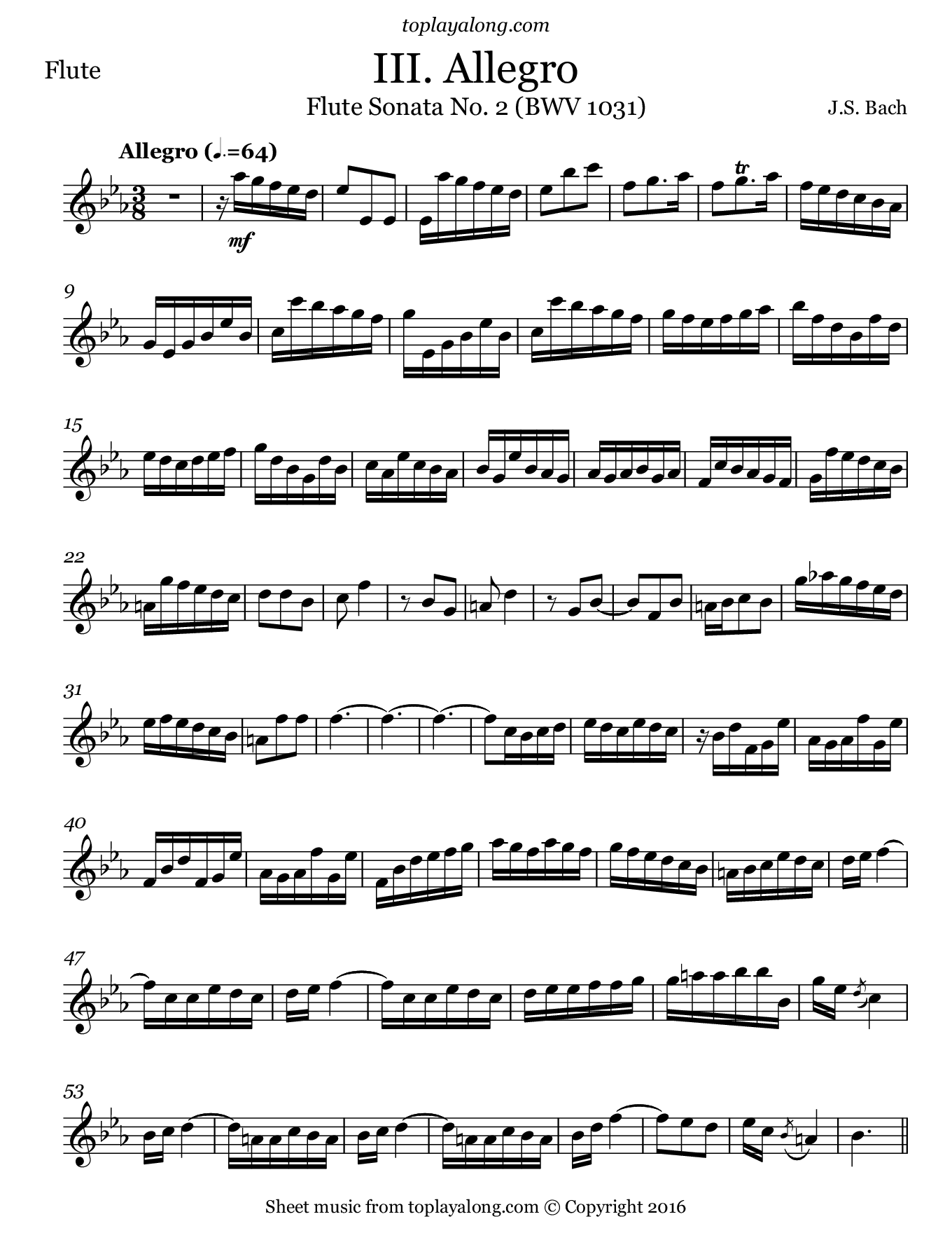 Flute Sonata BWV 1031 (III. Allegro) by J. S. Bach. Sheet music for Flute, page 1.