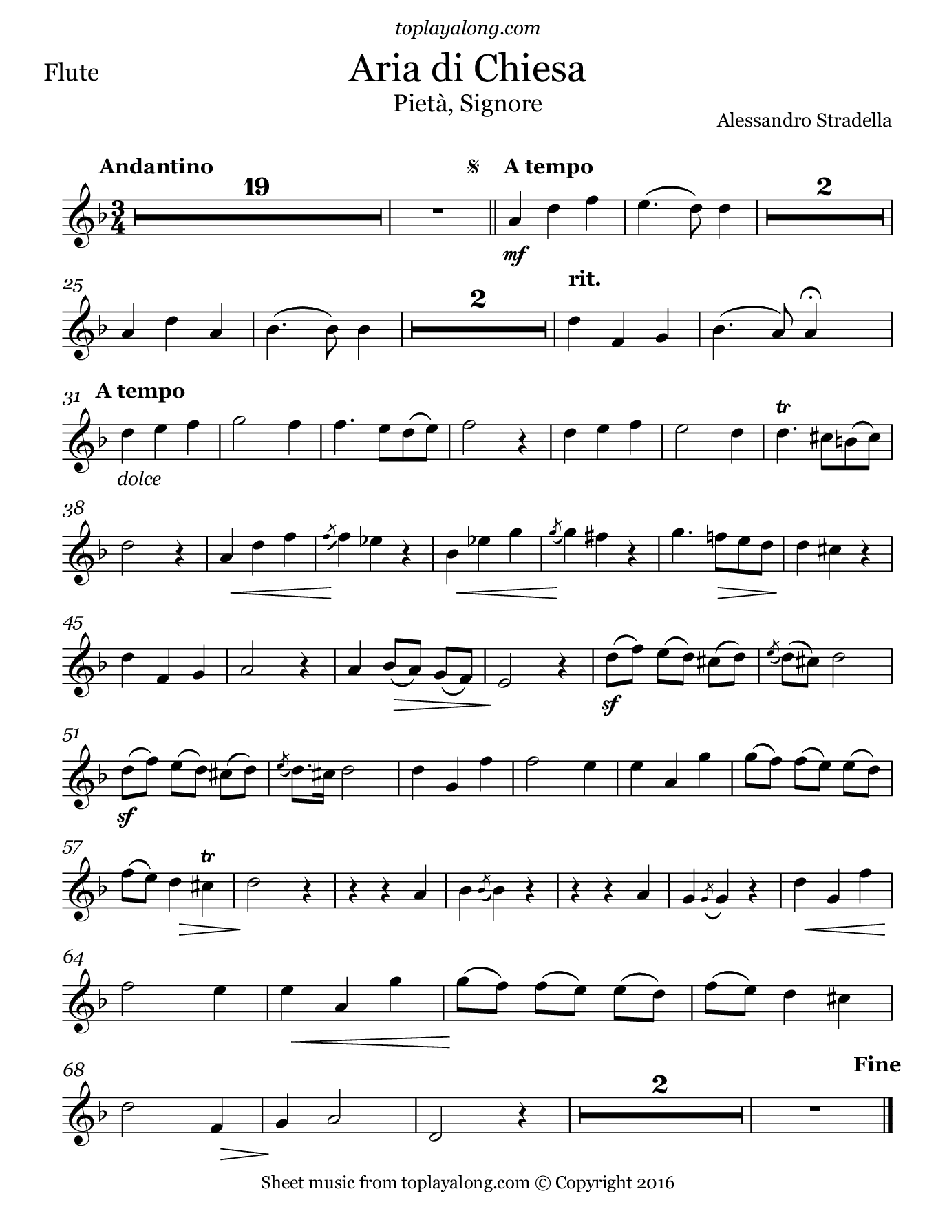 Aria di Chiesa (Pietà, Signore) by Stradella. Sheet music for Flute, page 1.