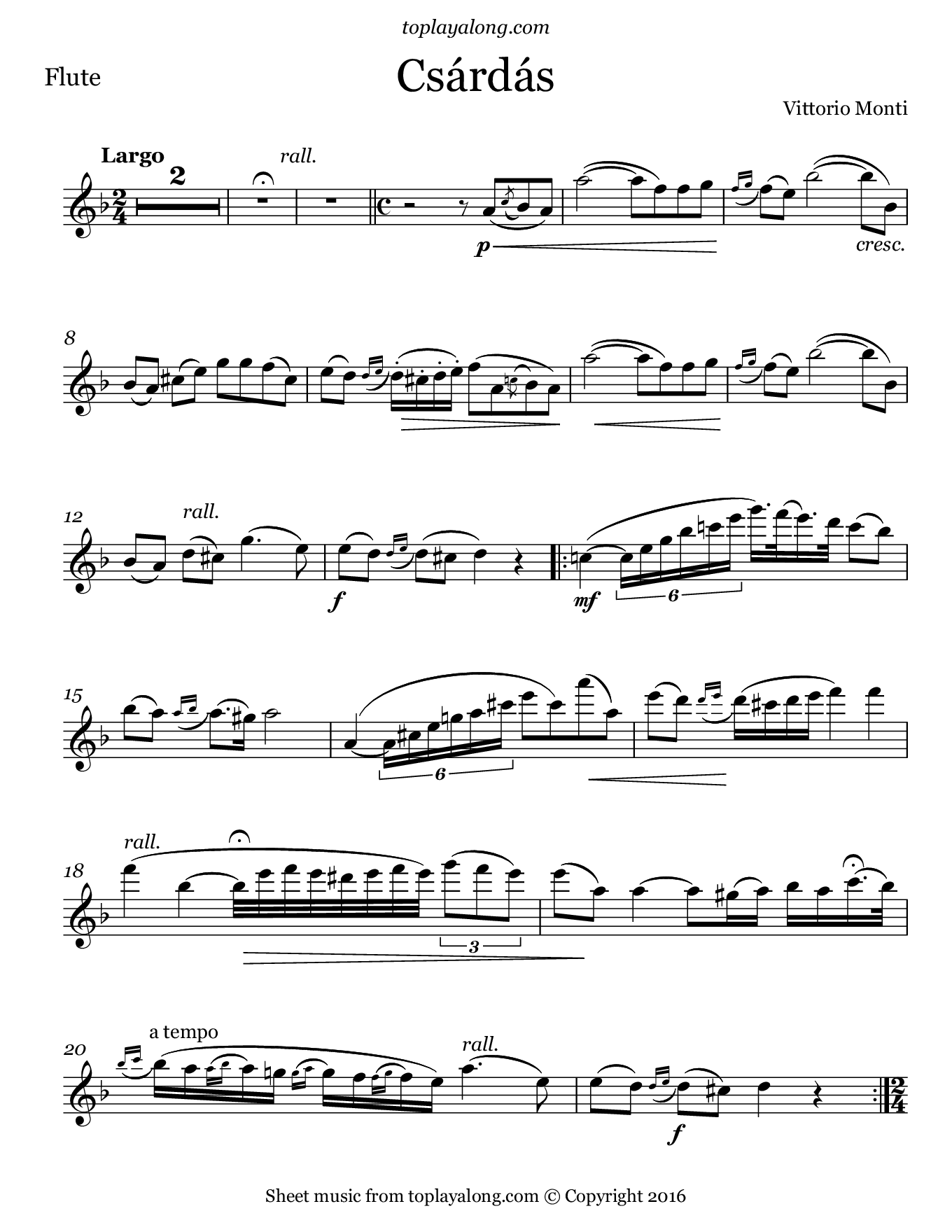 Csárdás by Monti. Sheet music for Flute, page 1.
