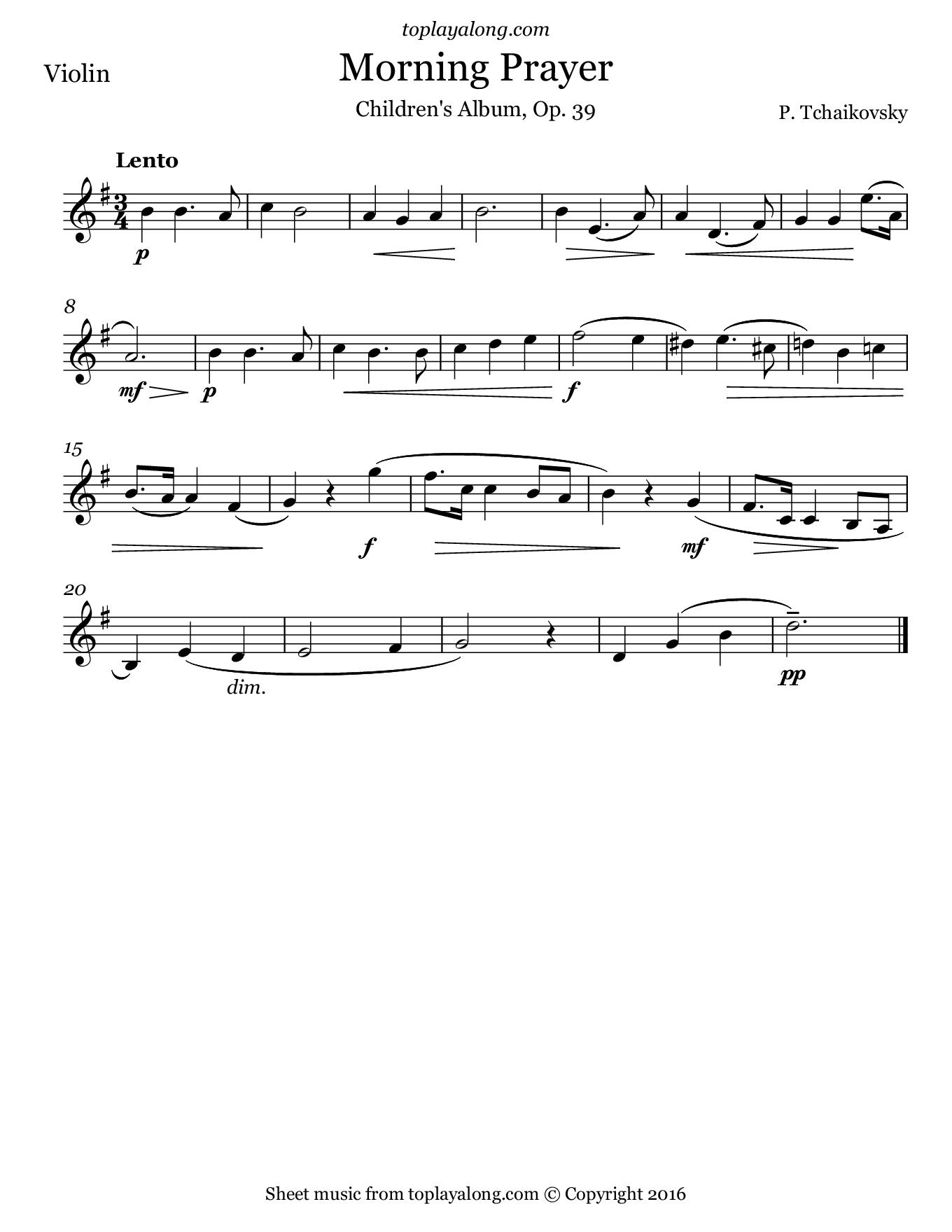 Morning Prayer by Tchaikovsky. Sheet music for Violin, page 1.