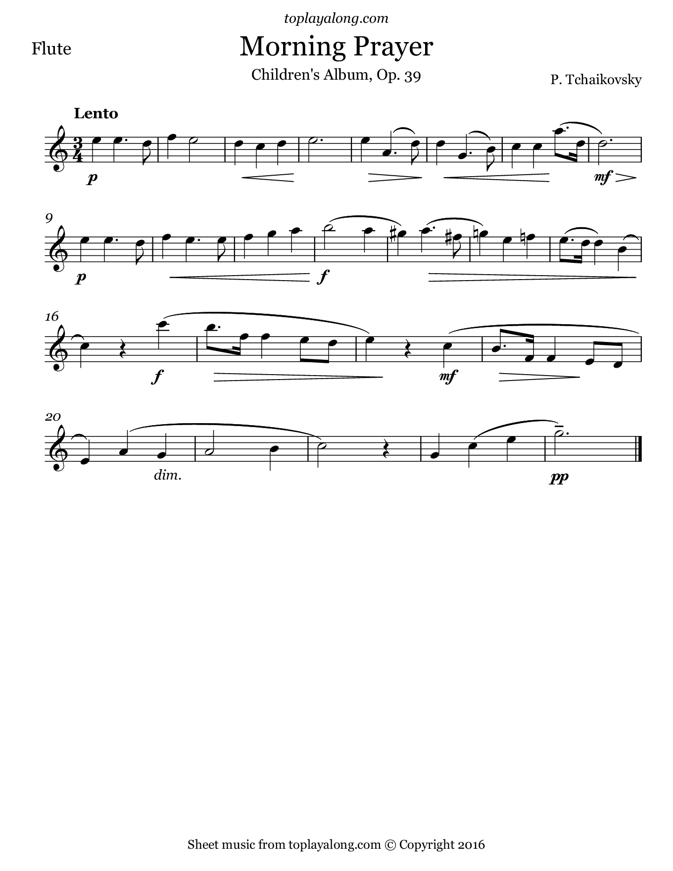 Morning Prayer by Tchaikovsky. Sheet music for Flute, page 1.