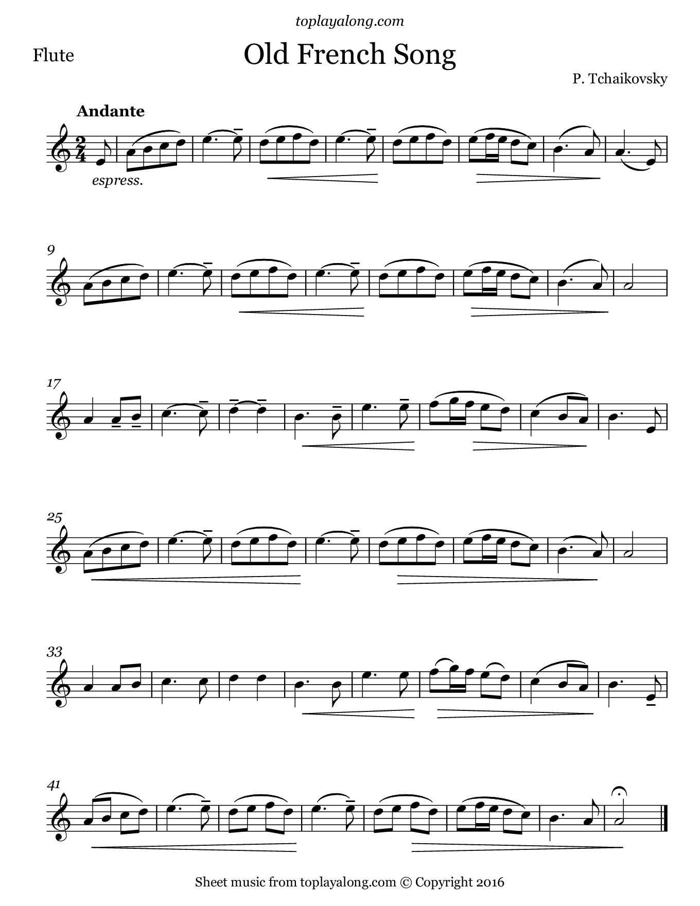 Old French Song by Tchaikovsky. Sheet music for Flute, page 1.