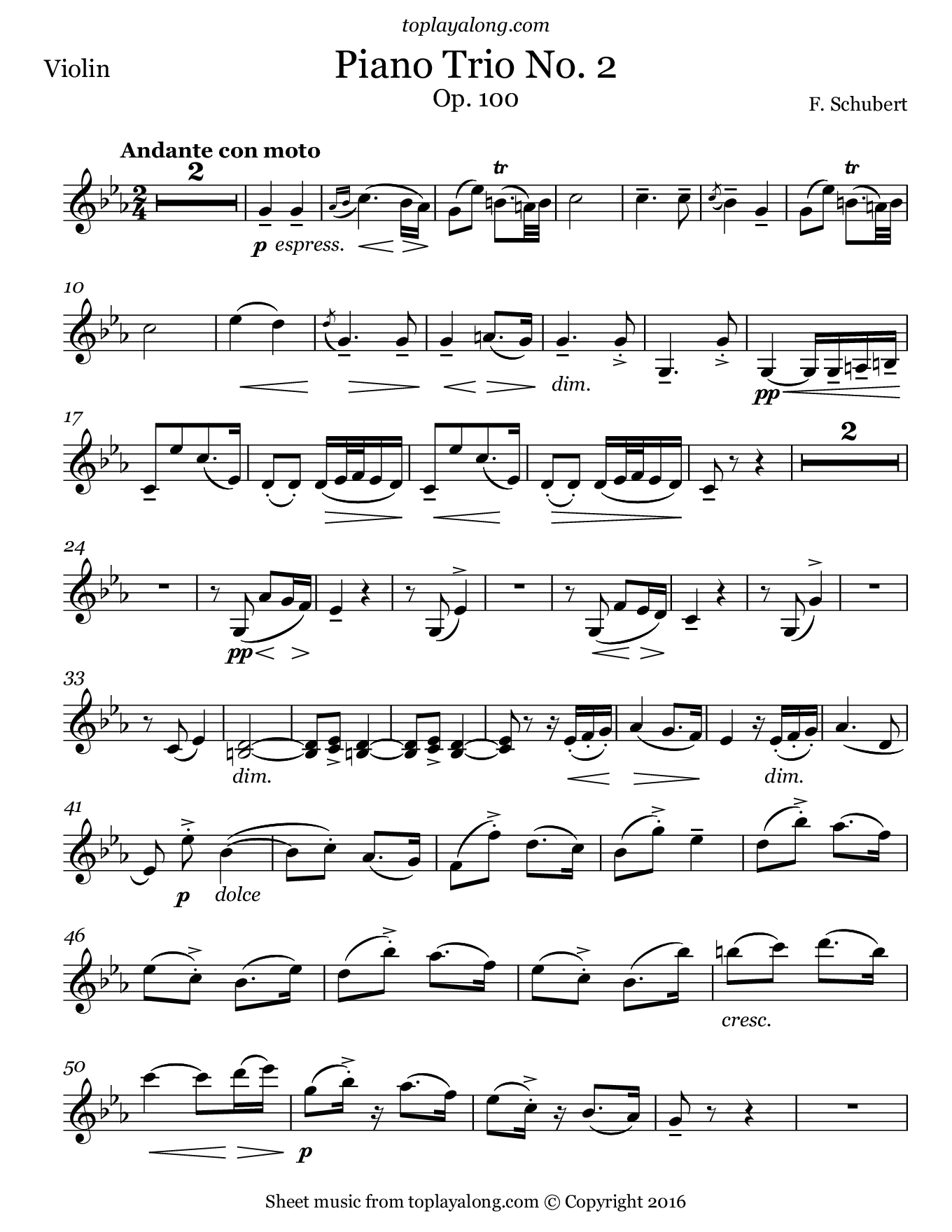 Piano Trio No. 2 Op. 100 (2nd mvt.) by Schubert. Sheet music for Violin, page 1.