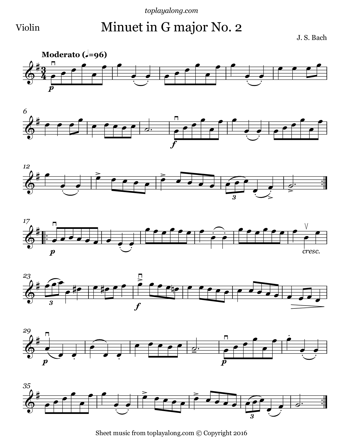 Minuet in G major No. 2 by J. S. Bach. Sheet music for Violin, page 1.
