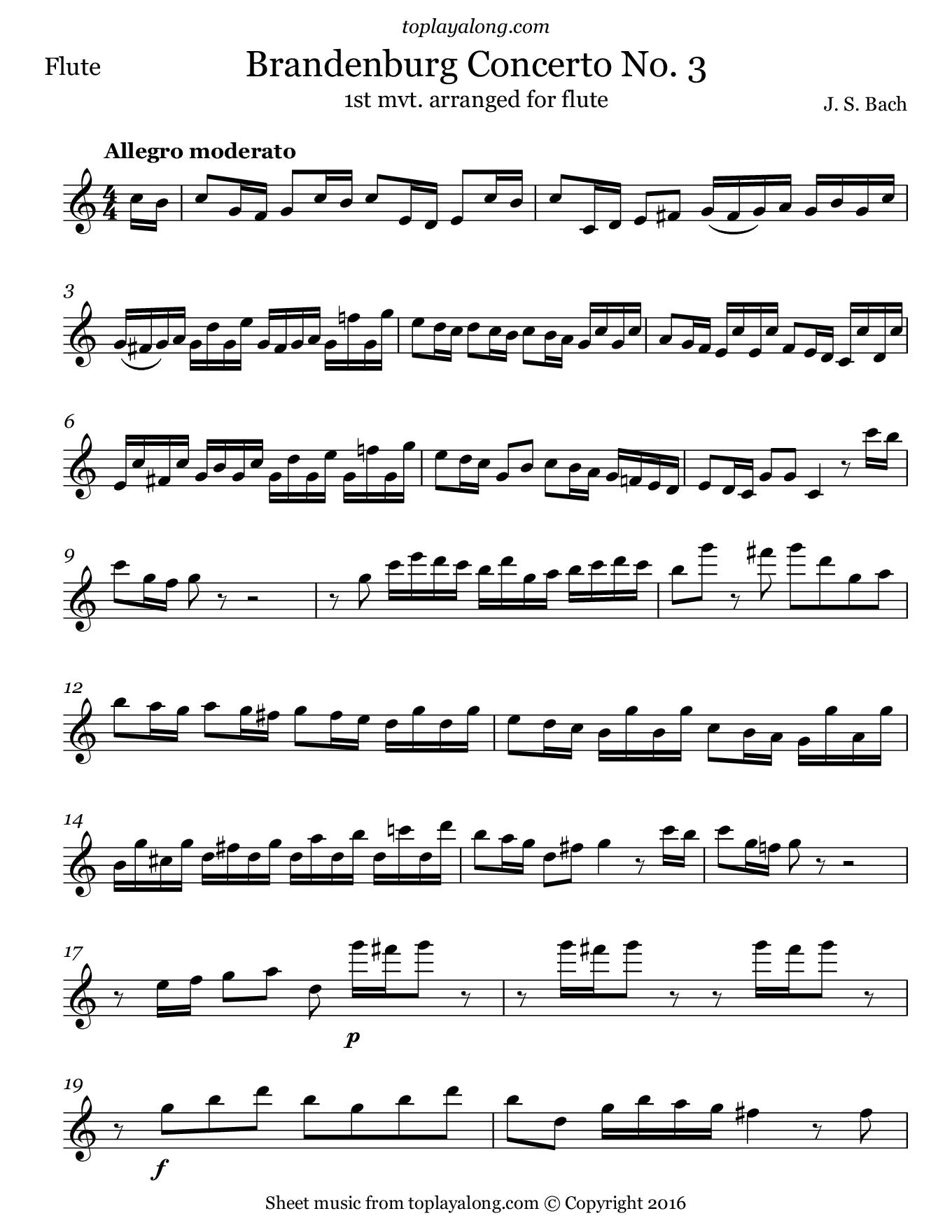 Brandenburg Concerto No. 3 (mvt. 1) by J. S. Bach. Sheet music for Flute, page 1.