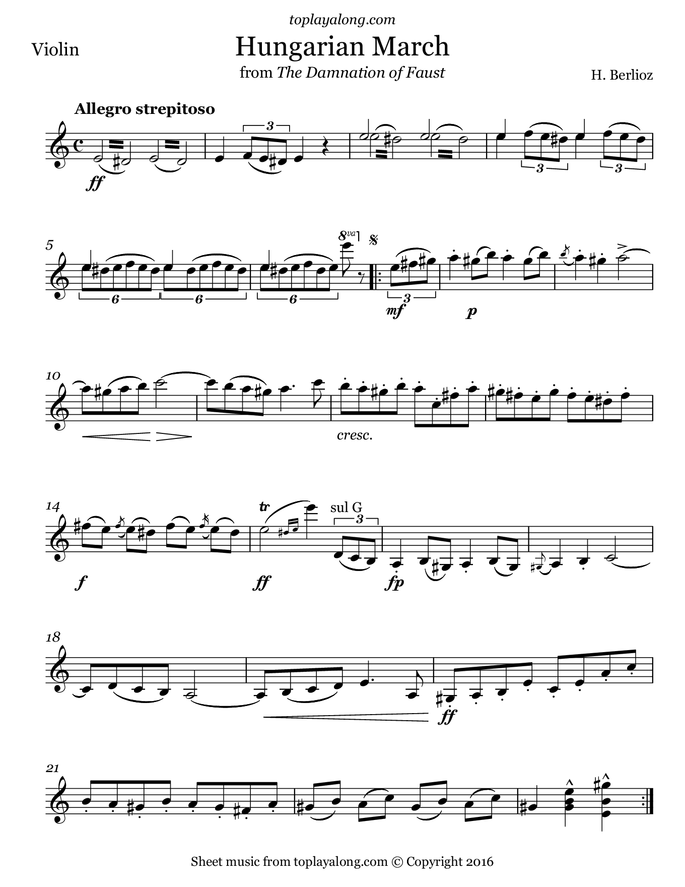 Hungarian March from Faust by Berlioz. Sheet music for Violin, page 1.