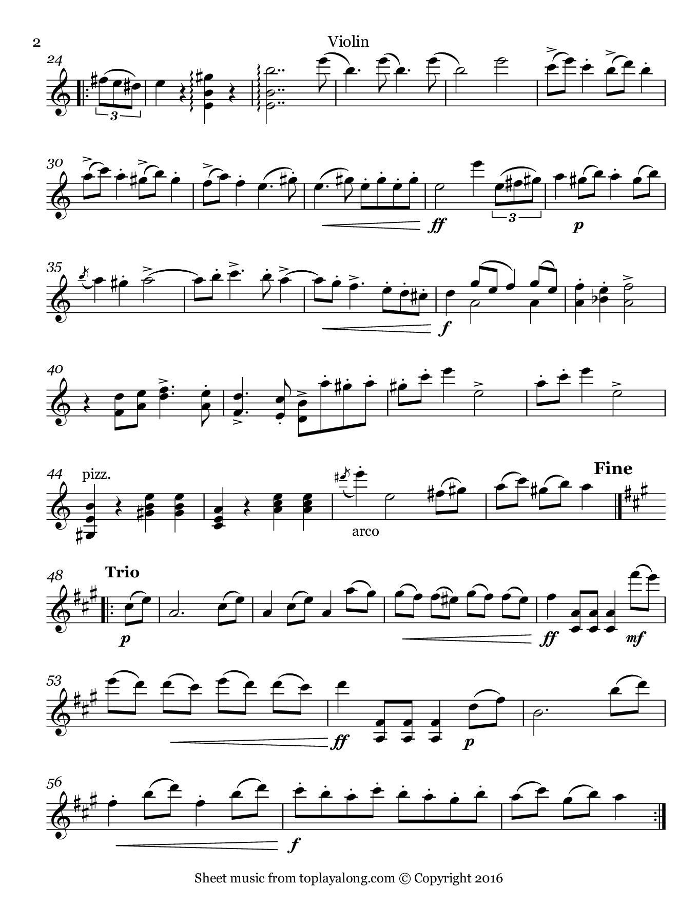 Hungarian March from Faust by Berlioz. Sheet music for Violin, page 2.