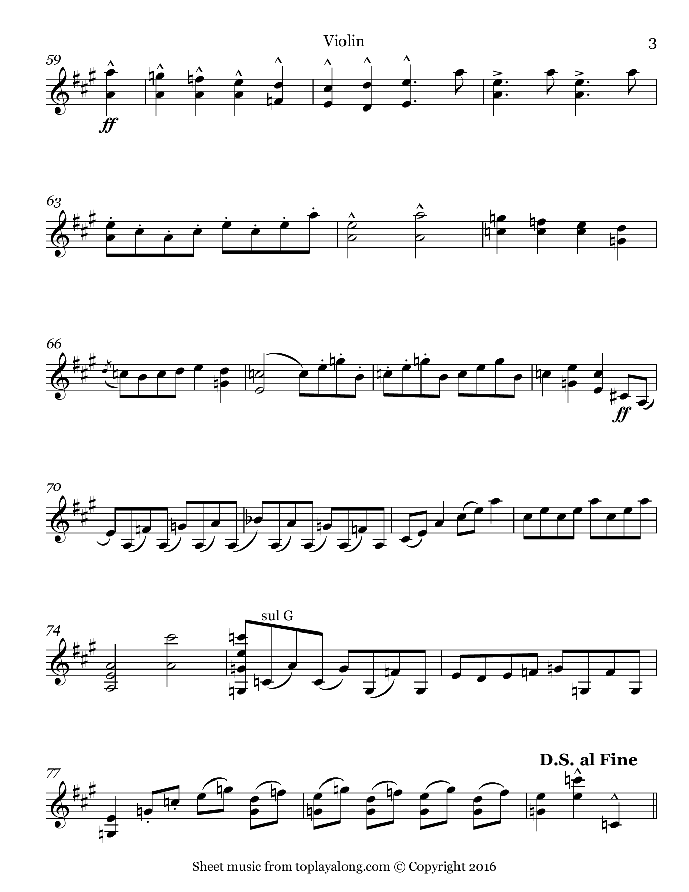 Hungarian March from Faust by Berlioz. Sheet music for Violin, page 3.