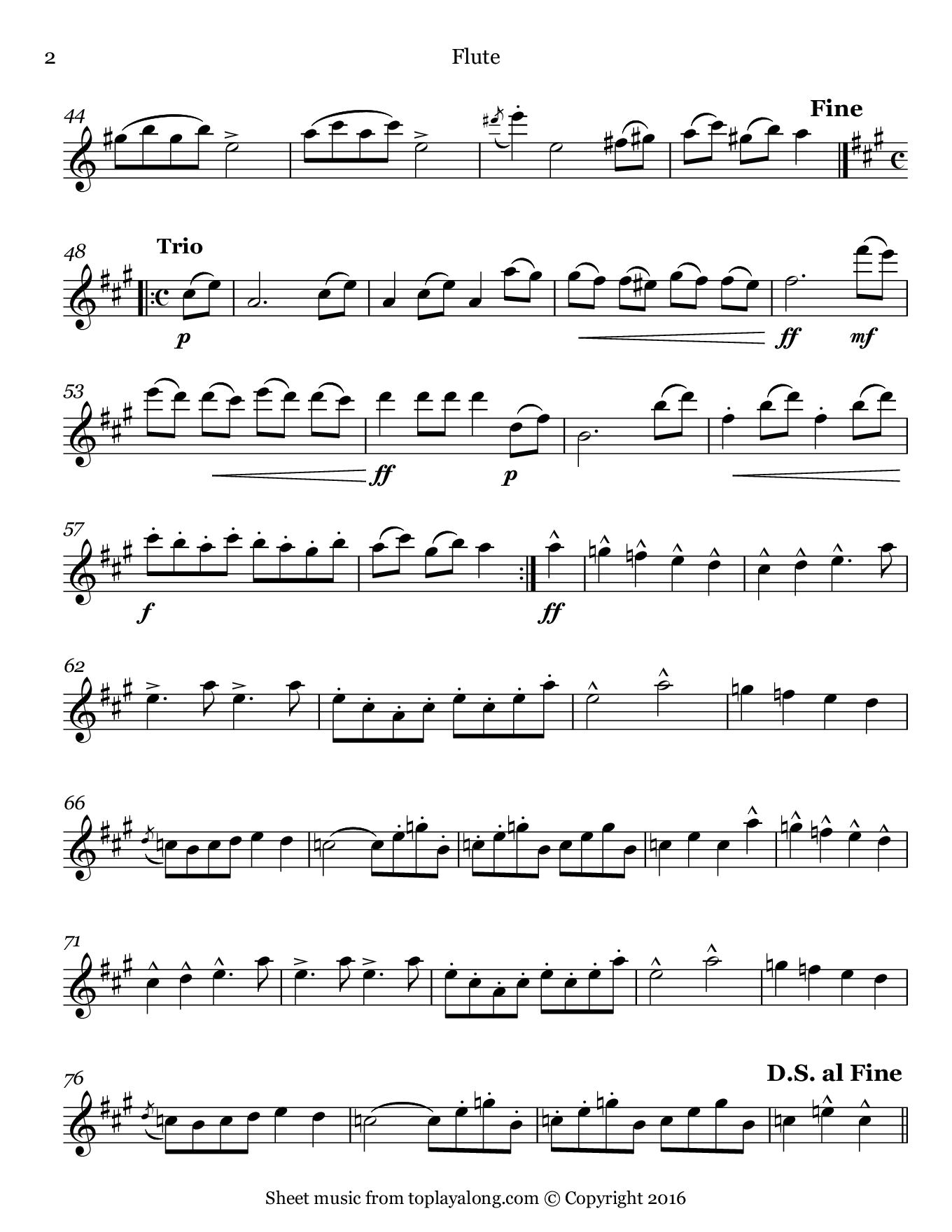 Hungarian March from Faust by Berlioz. Sheet music for Flute, page 2.