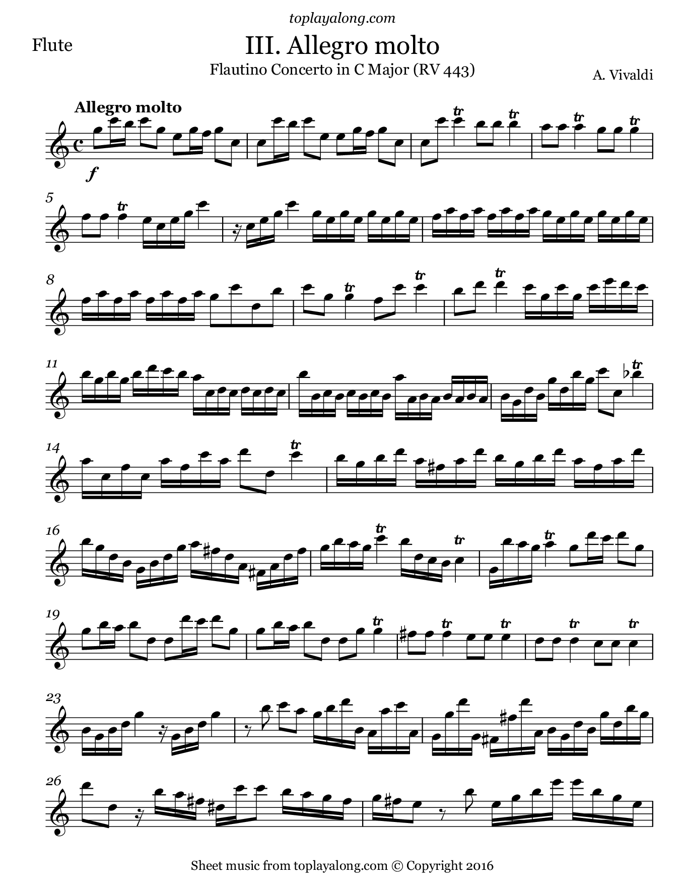 Flautino Concerto in C major RV 443 (III. Allegro molto) by Vivaldi. Sheet music for Flute, page 1.