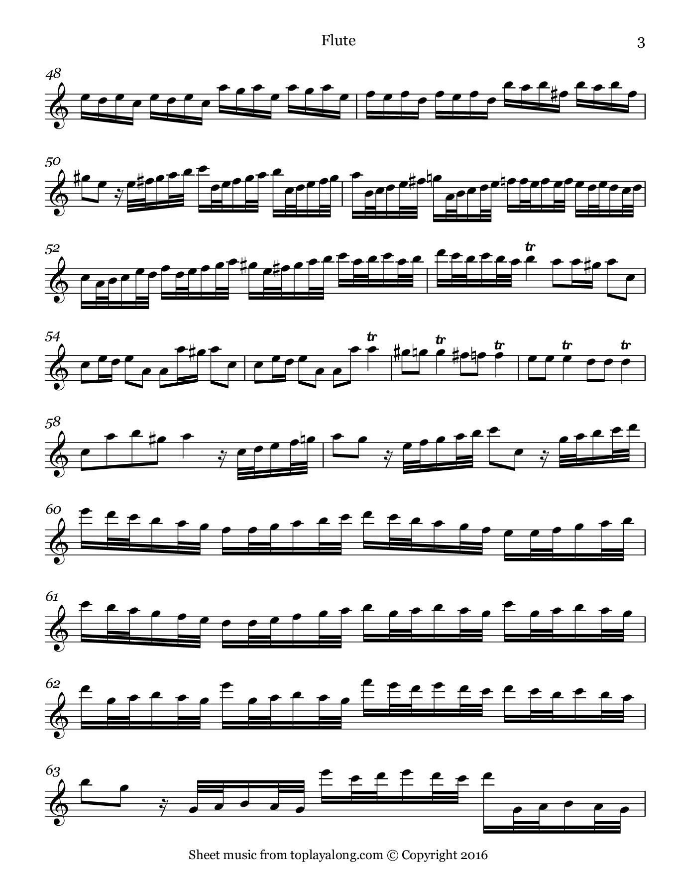 Flautino Concerto in C major RV 443 (III. Allegro molto) by Vivaldi. Sheet music for Flute, page 3.