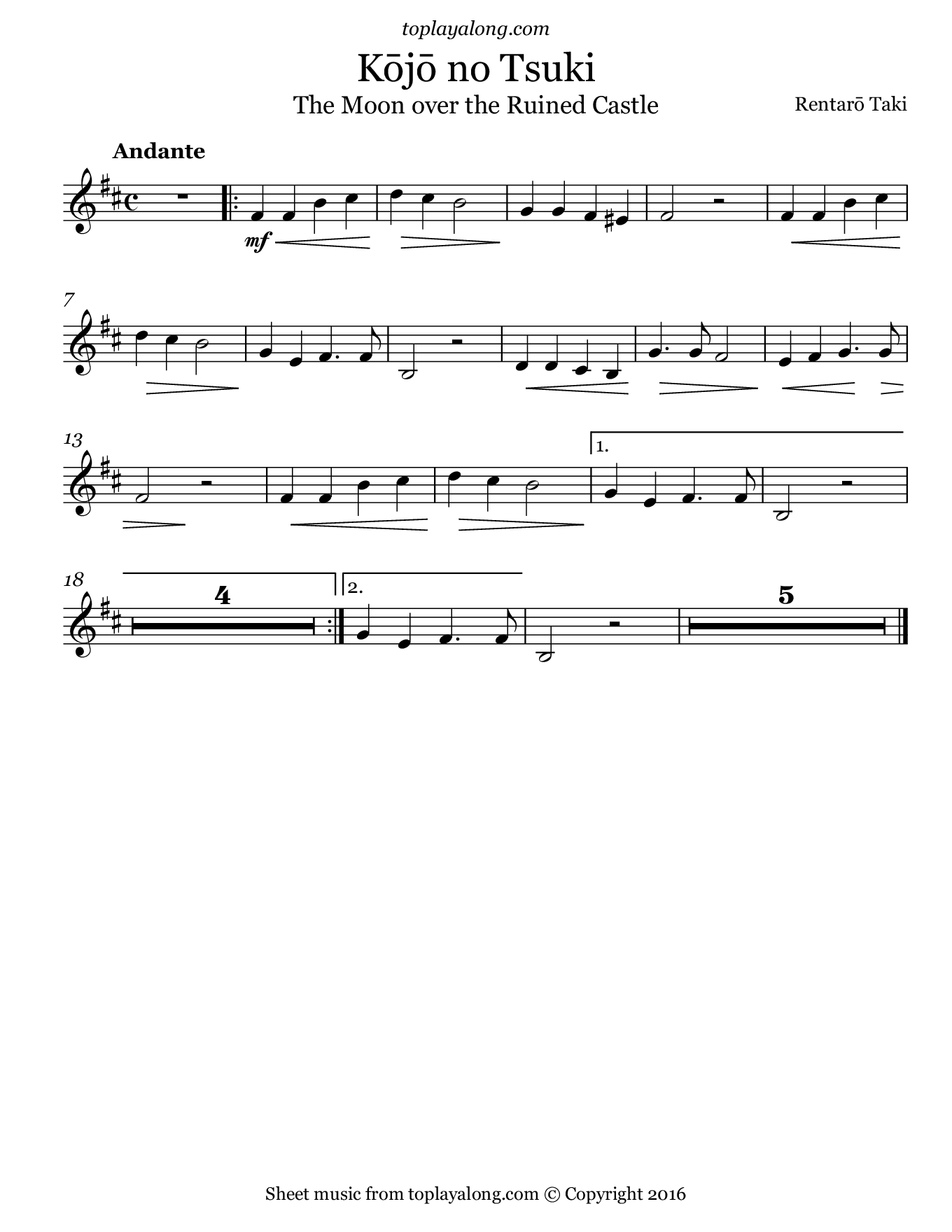 Moon over the Ruined Castle. Sheet music for Violin, page 1.