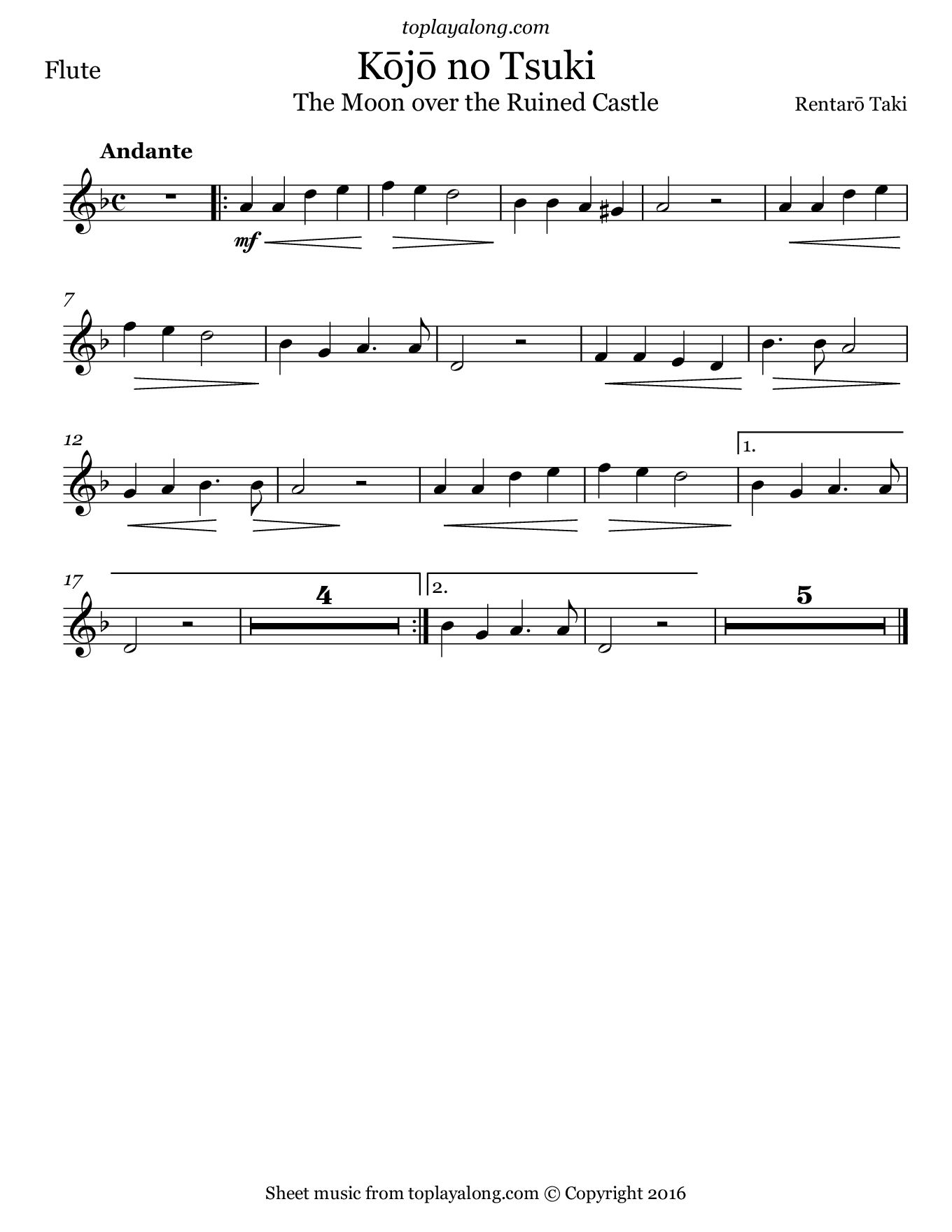 Moon over the Ruined Castle. Sheet music for Flute, page 1.