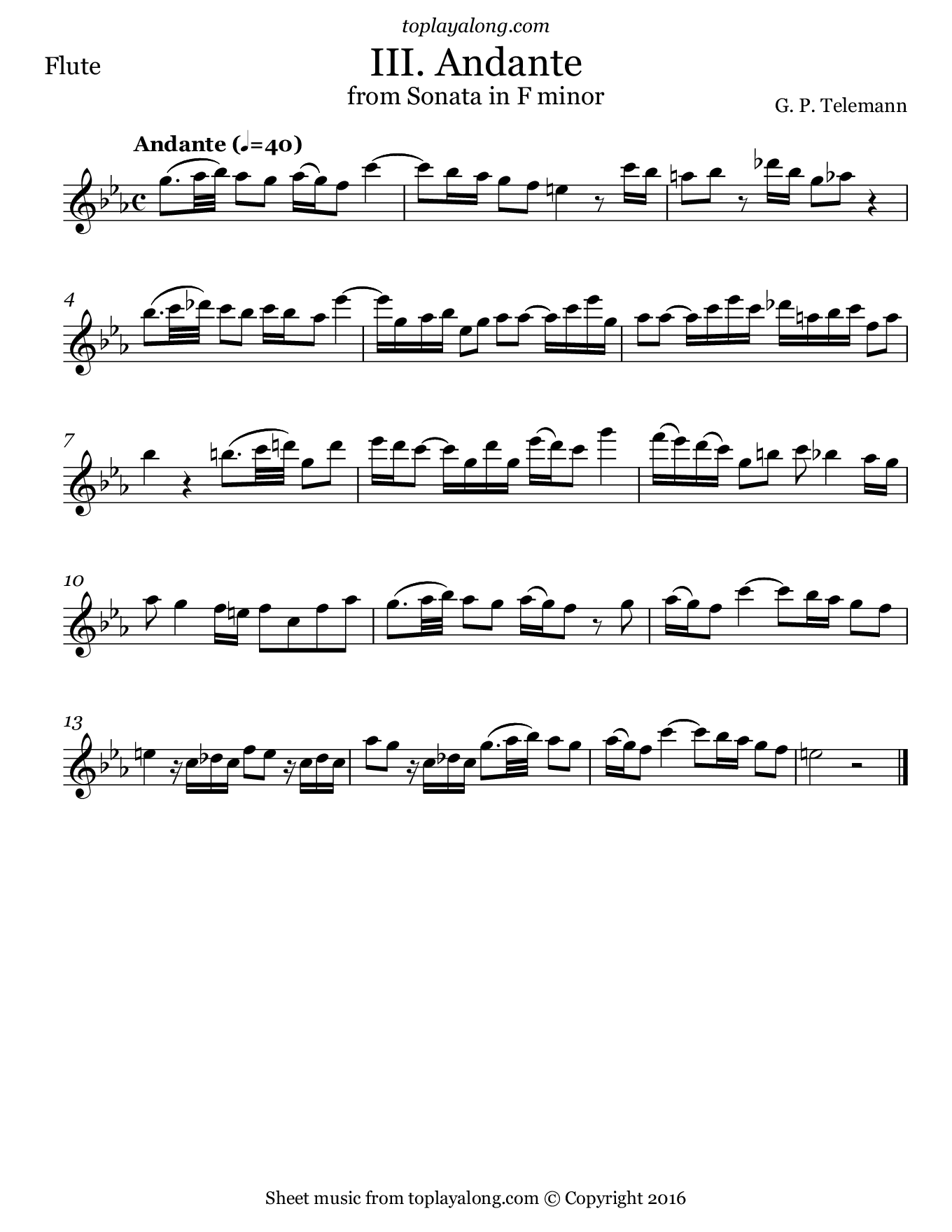 Sonata in F minor (III. Andante) by Telemann. Sheet music for Flute, page 1.