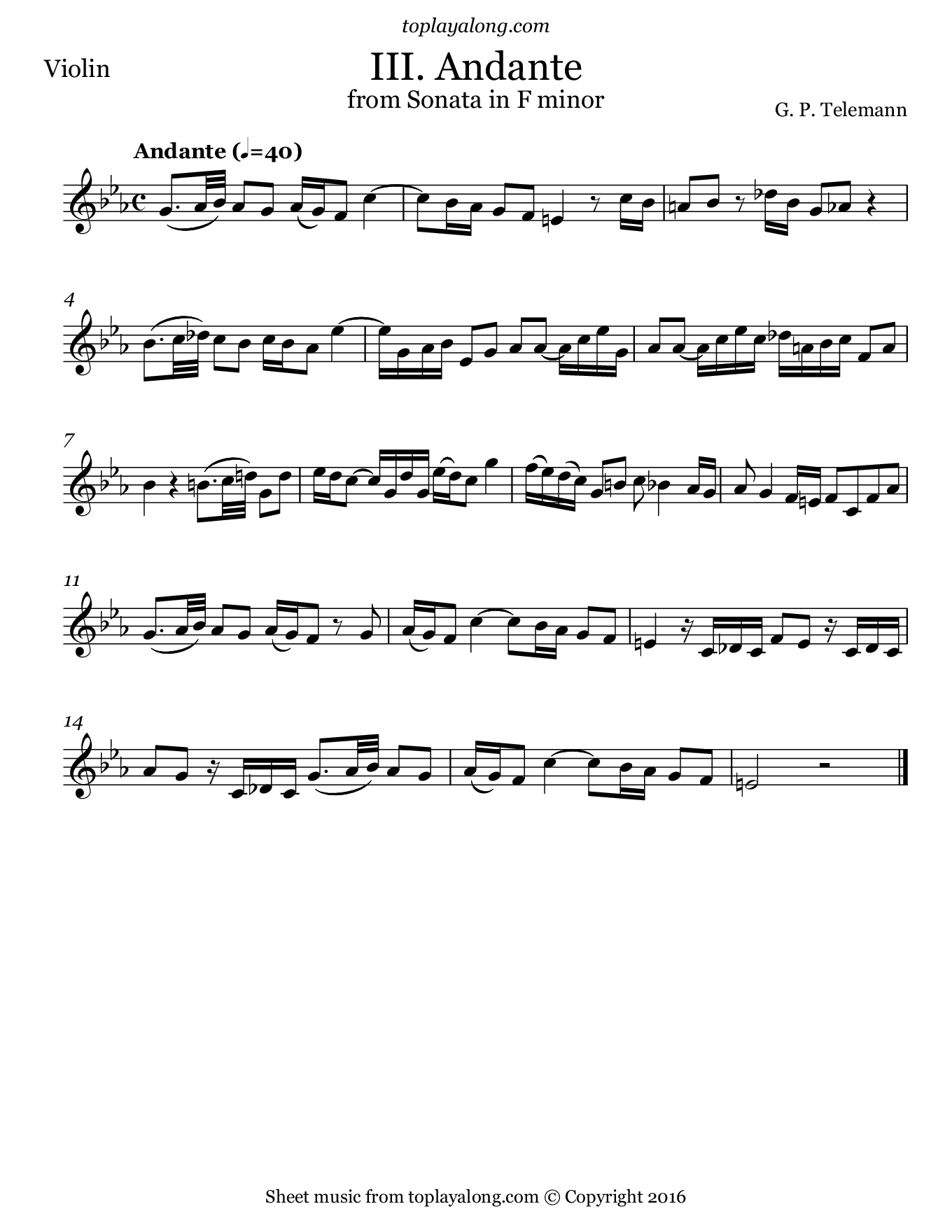 Sonata in F minor (III. Andante) by Telemann. Sheet music for Violin, page 1.
