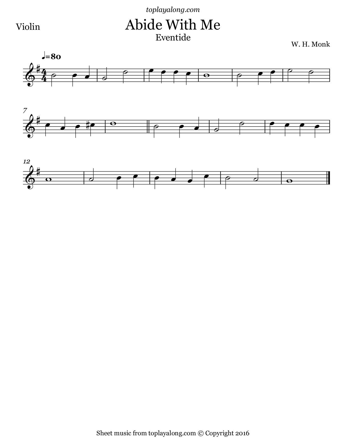 Abide With Me (Eventide). Sheet music for Violin, page 1.