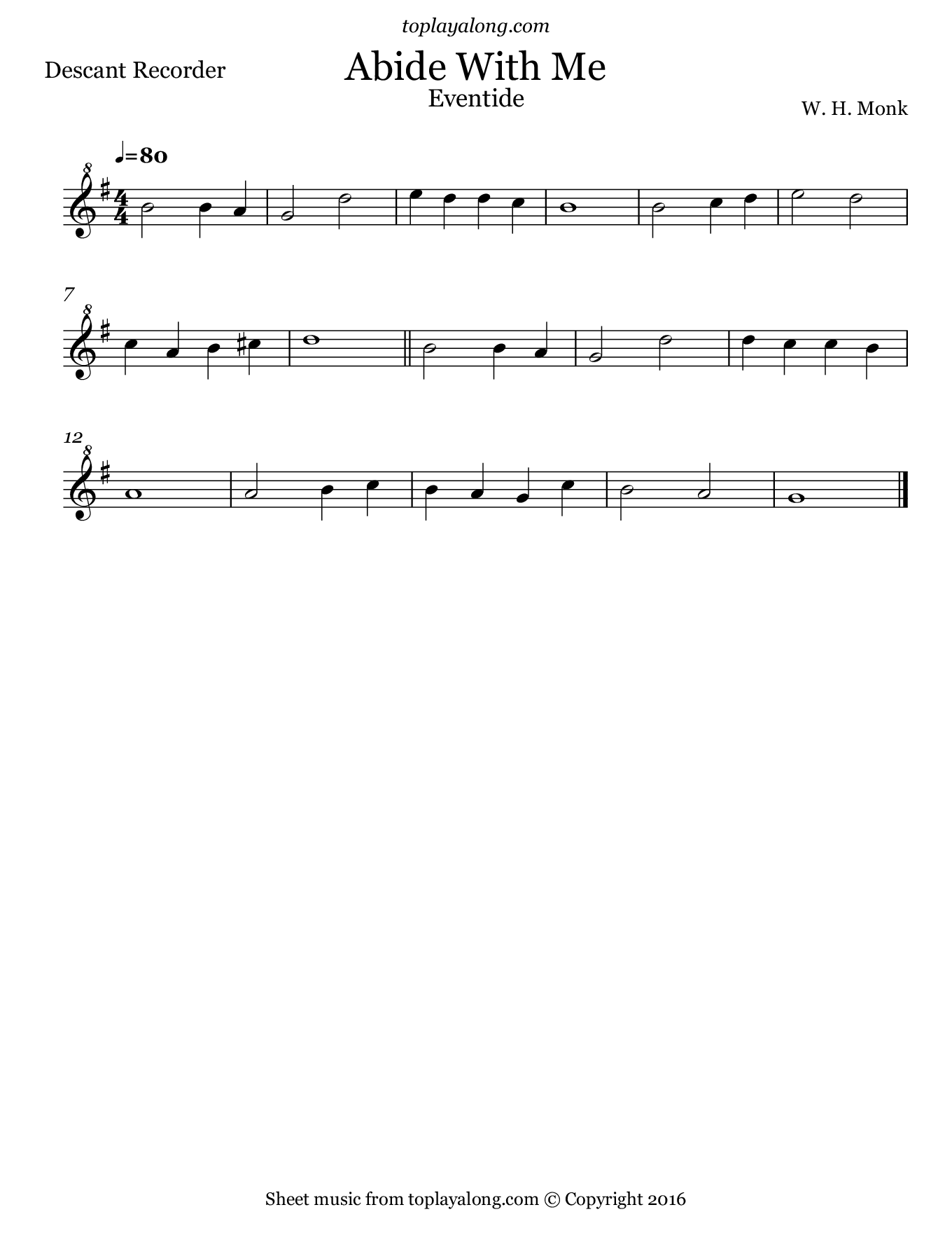 Abide With Me (Eventide). Sheet music for Recorder, page 1.