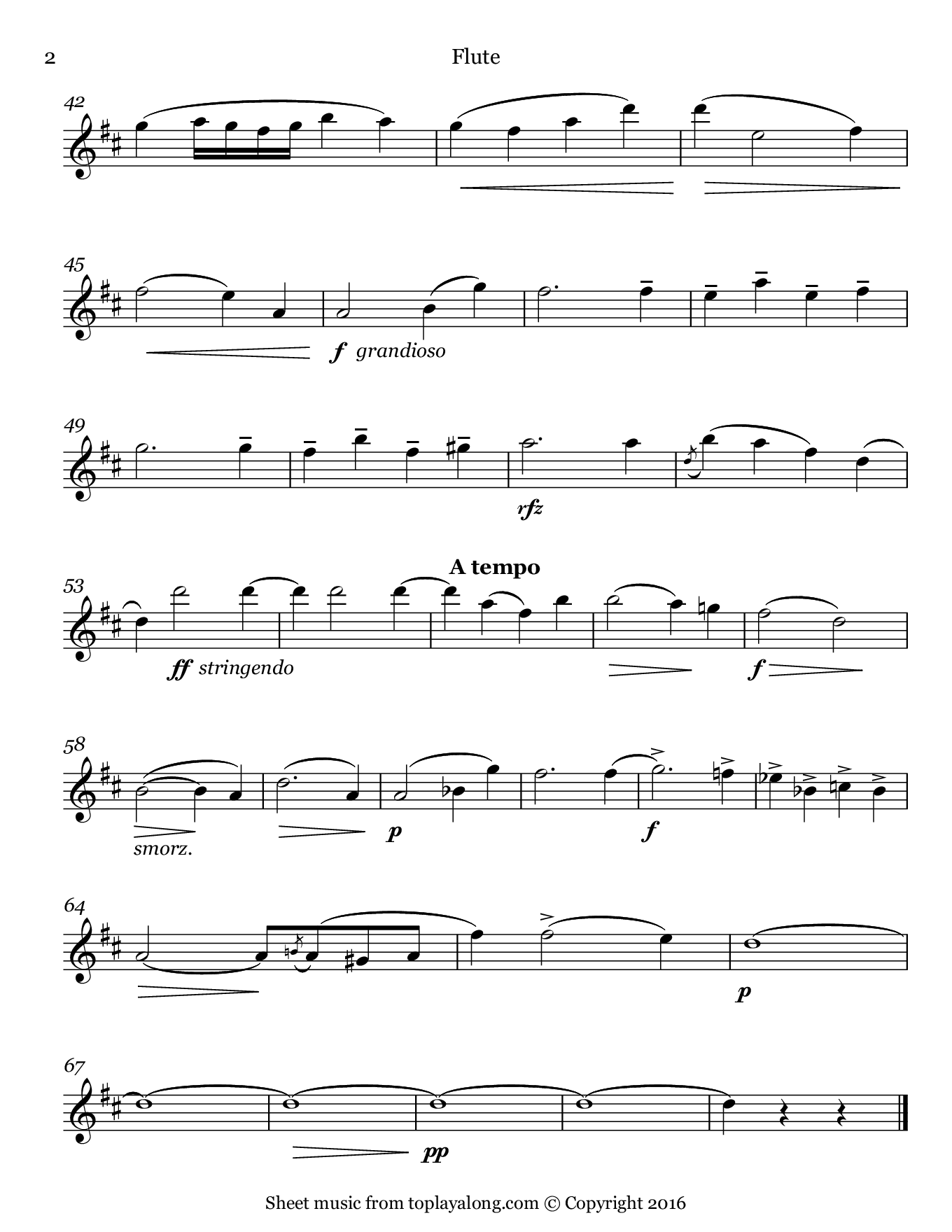 Cavatina by Raff. Sheet music for Flute, page 2.