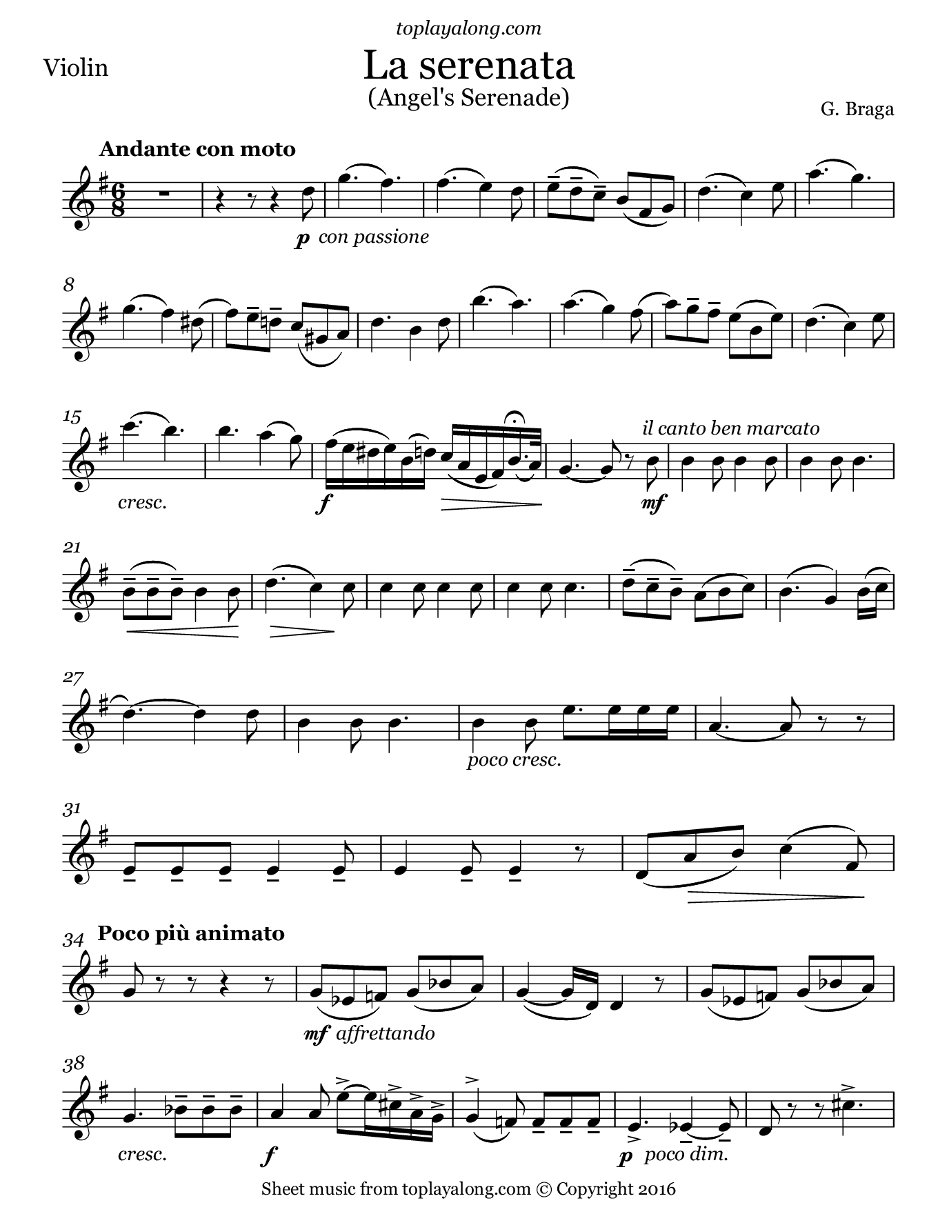 La seranata (Angel's Serenade) by Braga. Sheet music for Violin, page 1.