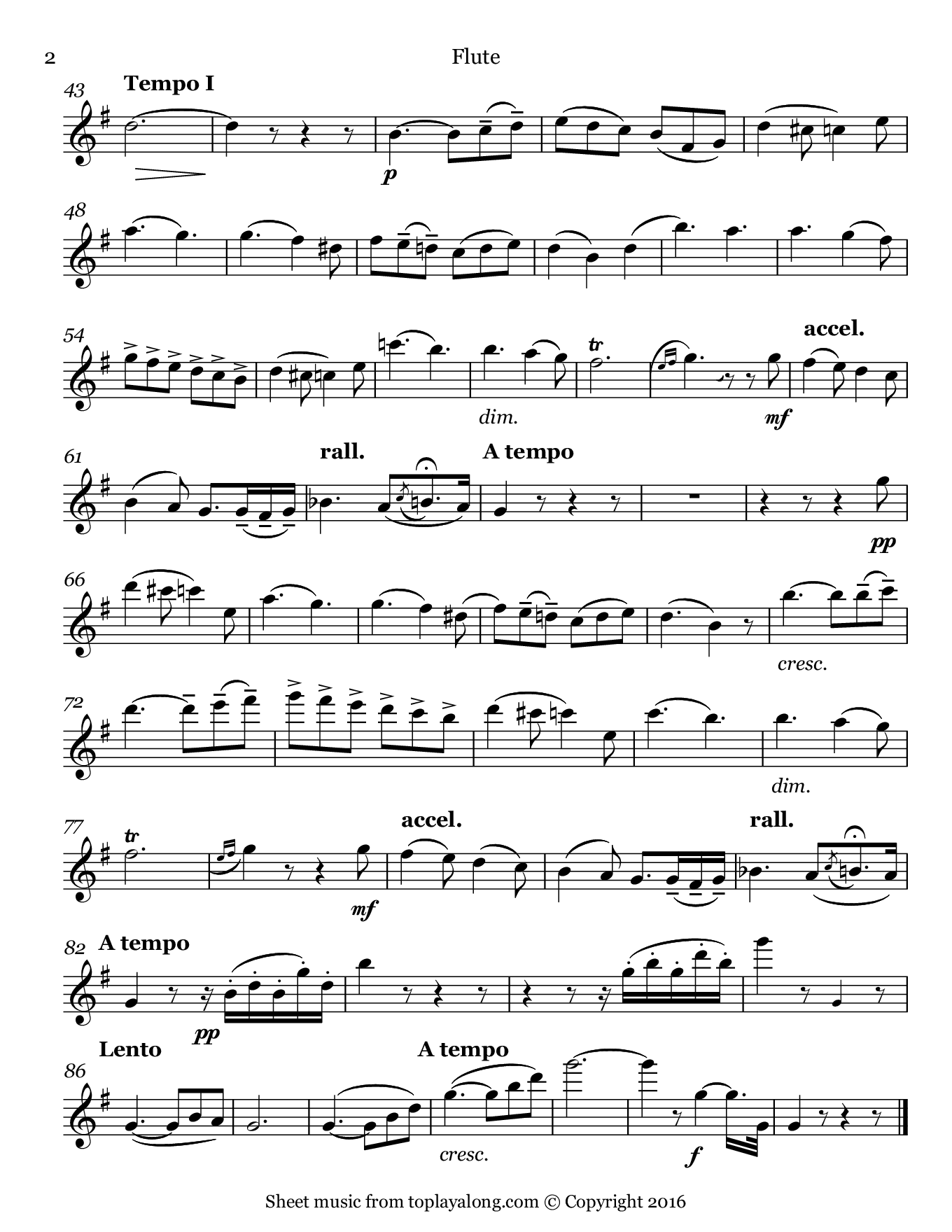 La seranata (Angel's Serenade) by Braga. Sheet music for Flute, page 2.