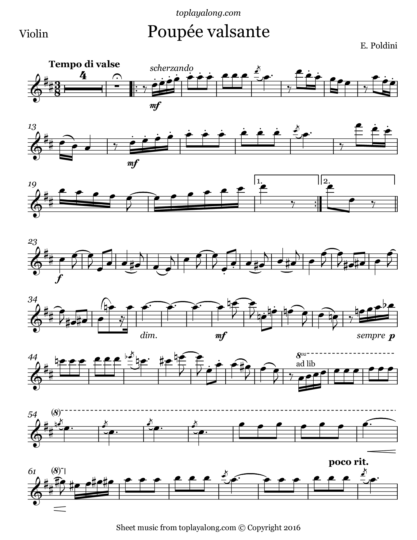Poupée valsante by Poldini. Sheet music for Violin, page 1.