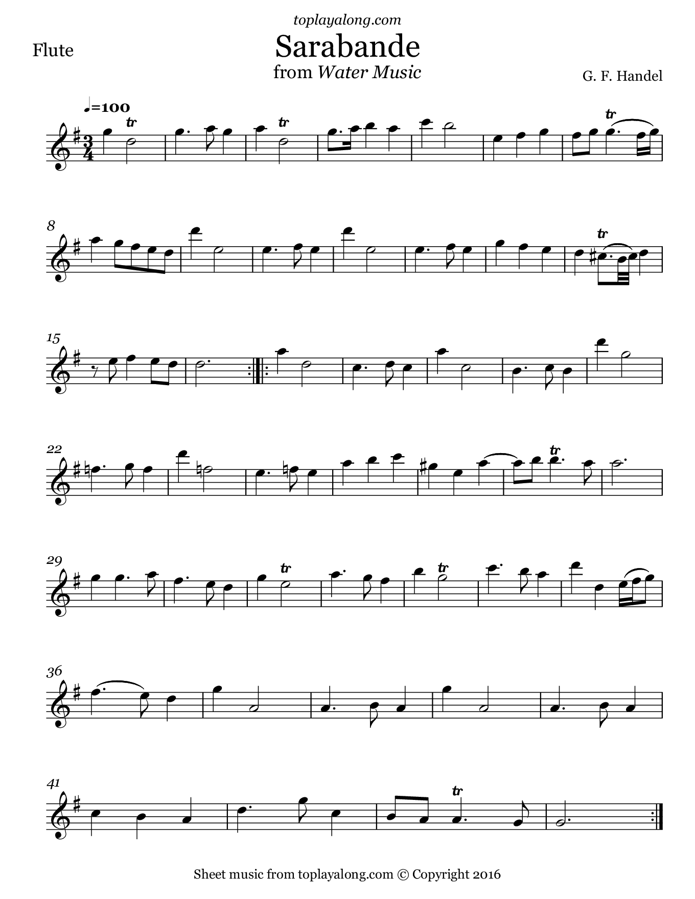 Sarabande from Water Music by Handel. Sheet music for Flute, page 1.