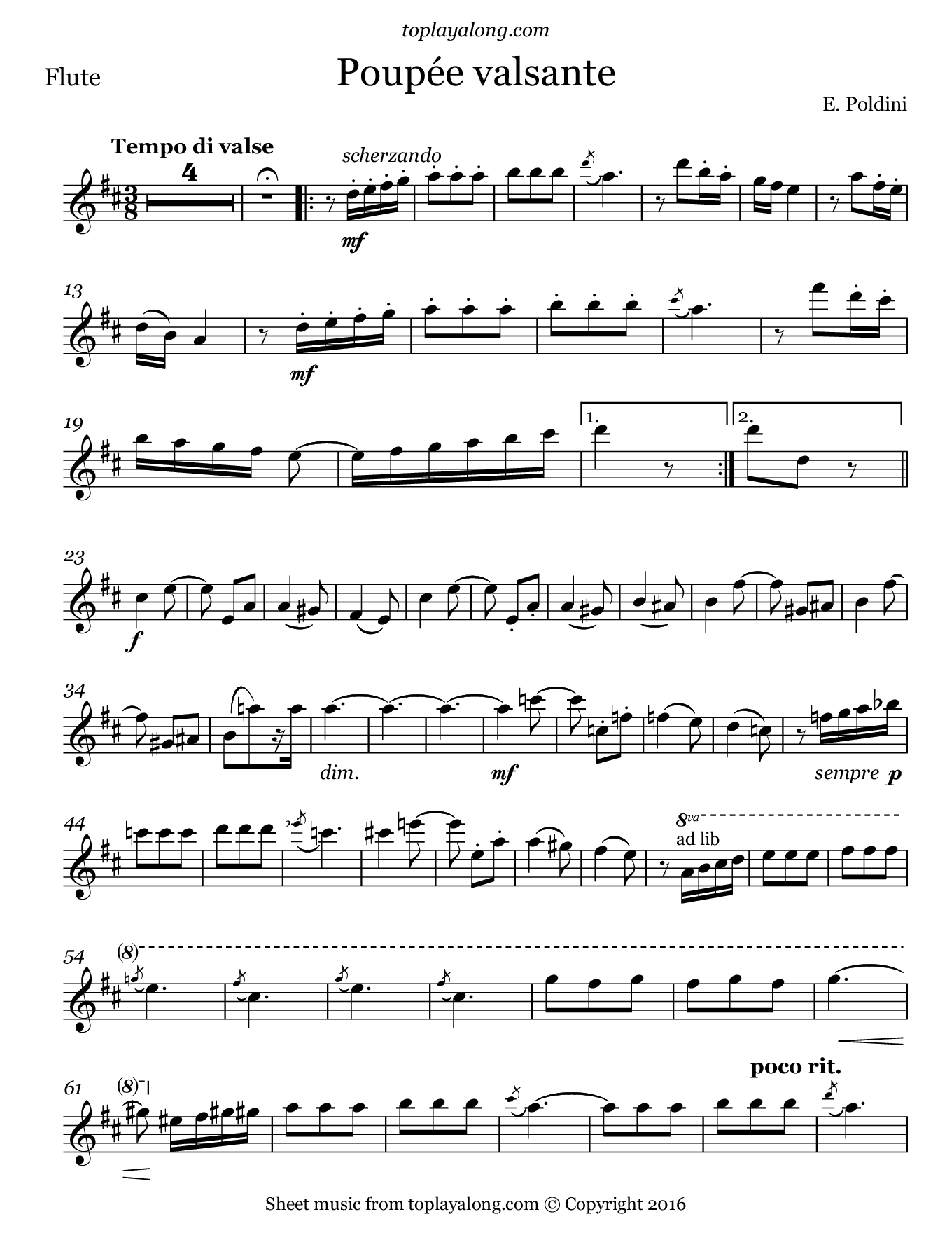 Poupée valsante by Poldini. Sheet music for Flute, page 1.