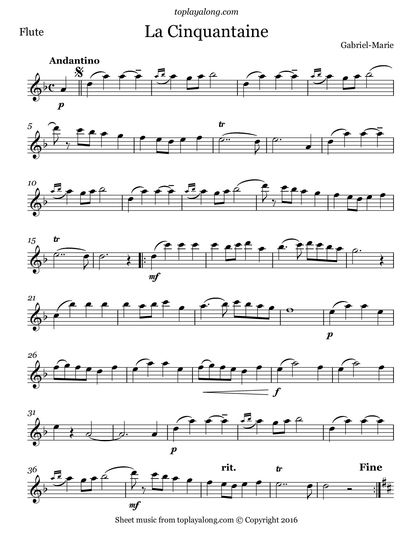La Cinquantaine by Gabriel-Marie. Sheet music for Flute, page 1.