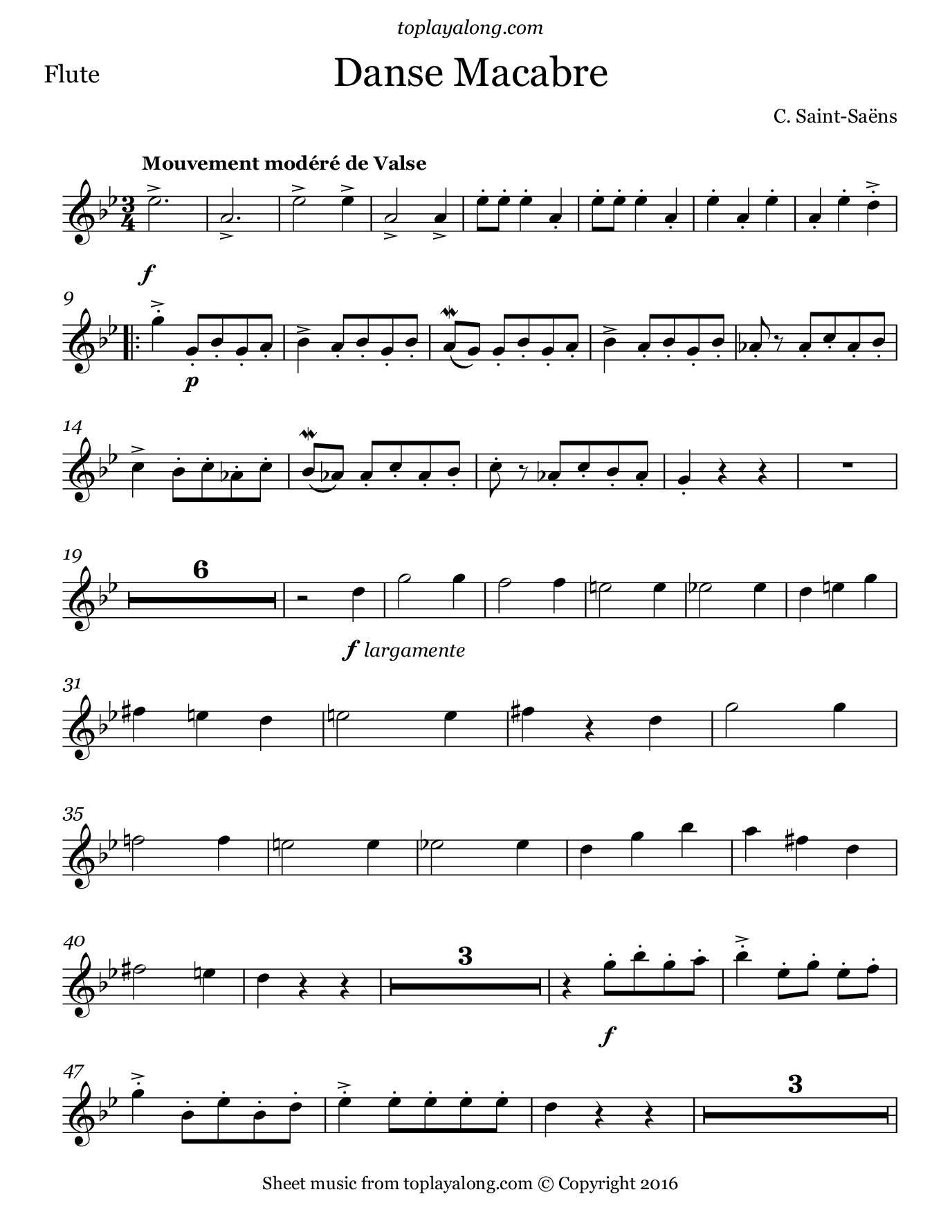 Danse Macabre by Saint-Saëns. Sheet music for Flute, page 1.