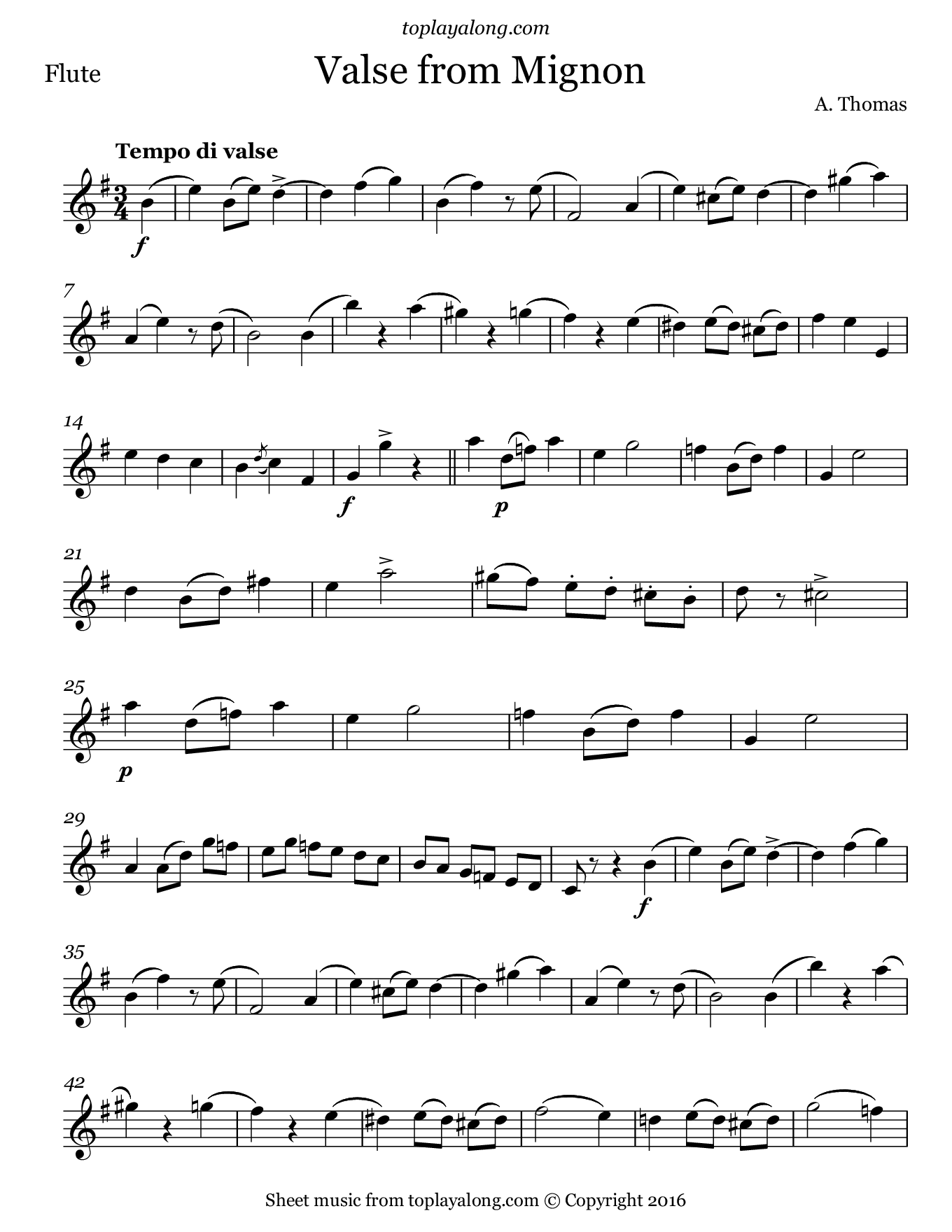 Valse from Mignon by Thomas. Sheet music for Flute, page 1.