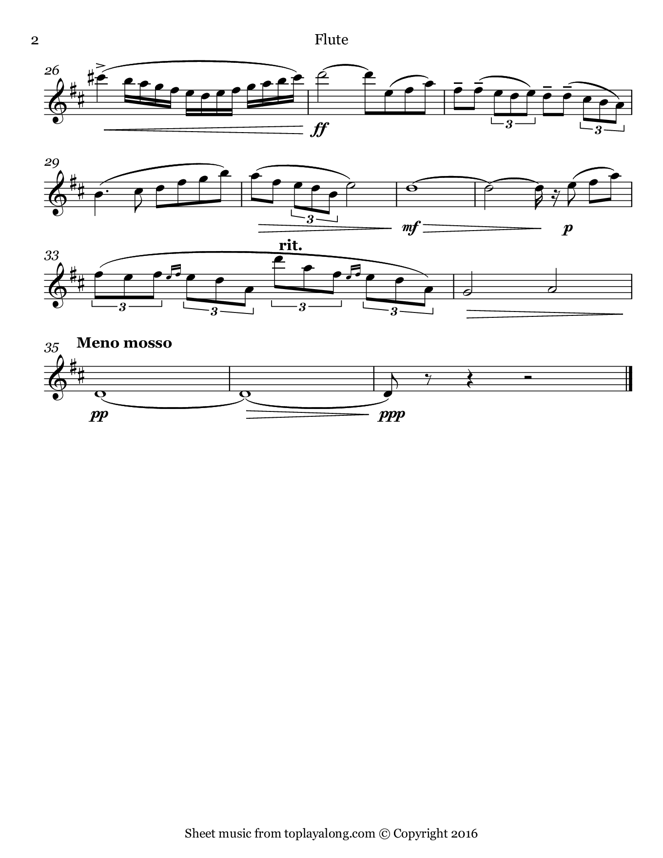 Concertino for Flute Op. 107 (Theme) by Chaminade. Sheet music for Flute, page 2.