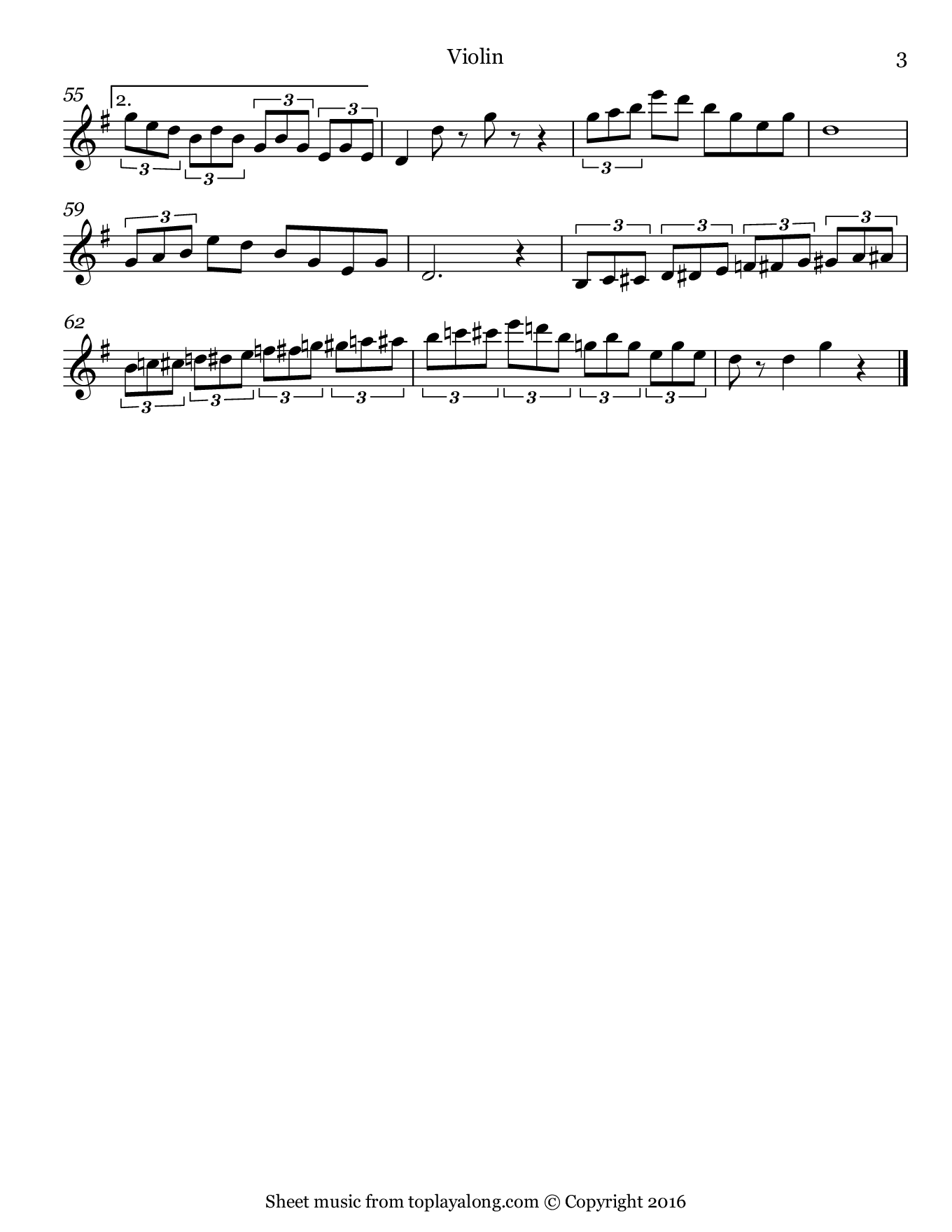Nola by Arndt. Sheet music for Violin, page 3.