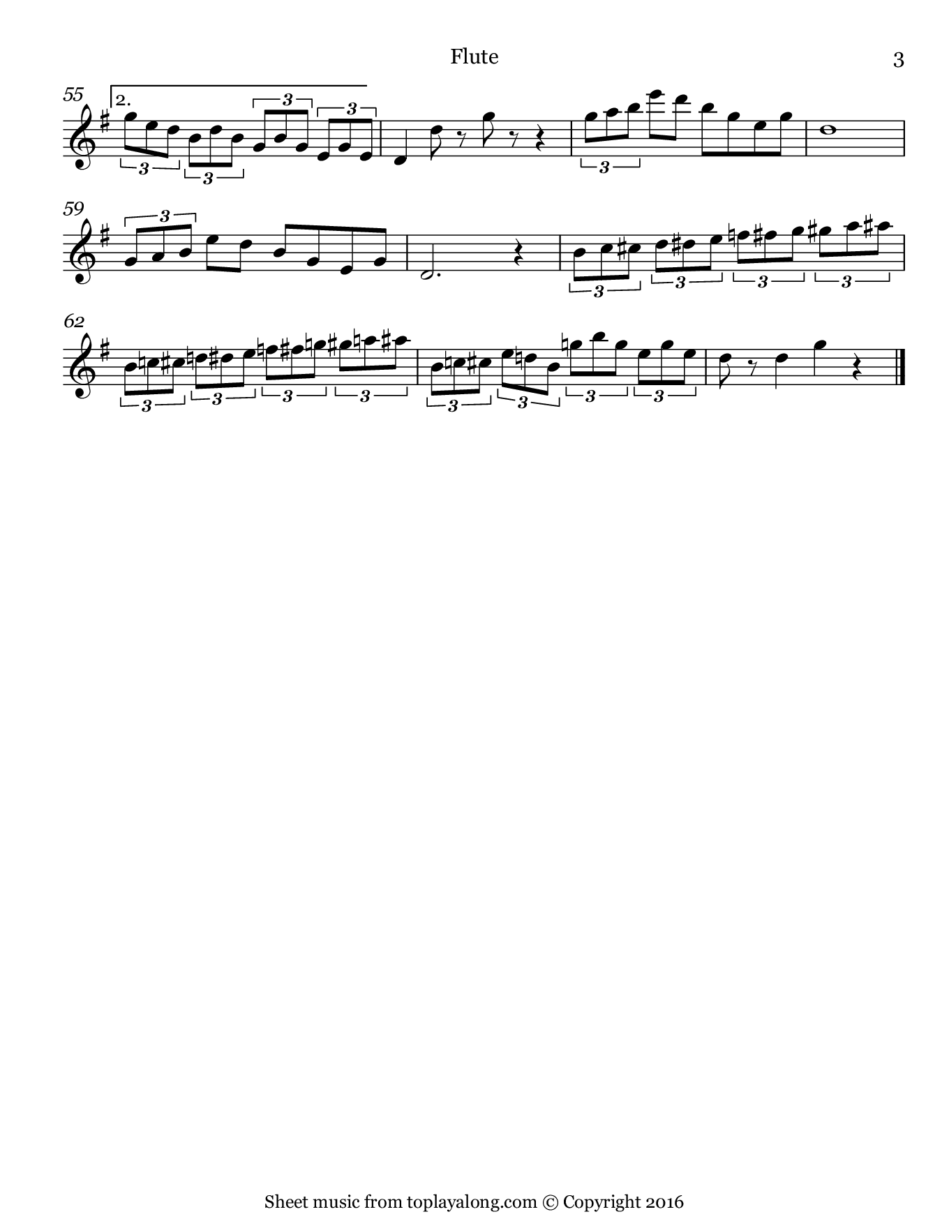 Nola by Arndt. Sheet music for Flute, page 3.