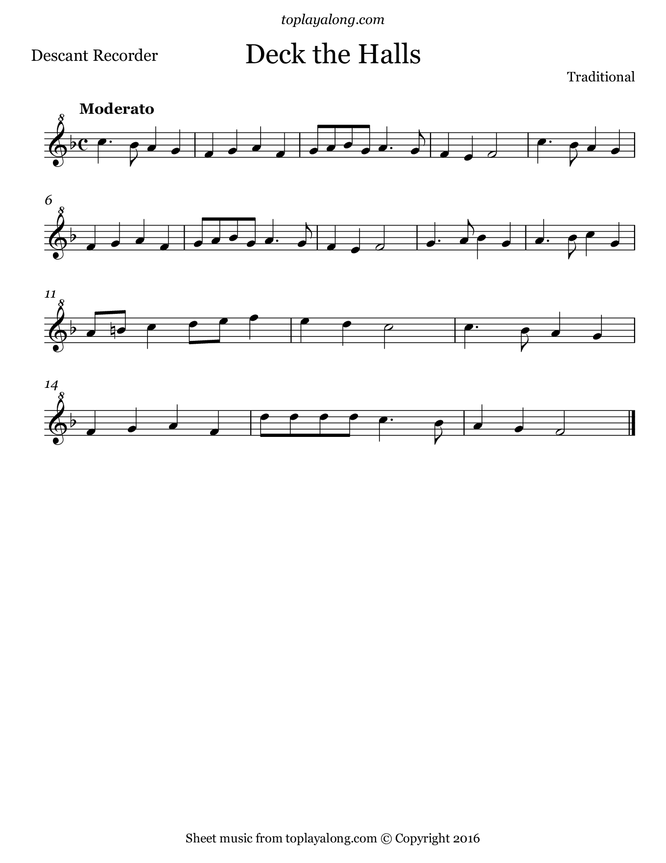 Deck the Halls. Sheet music for Recorder, page 1.