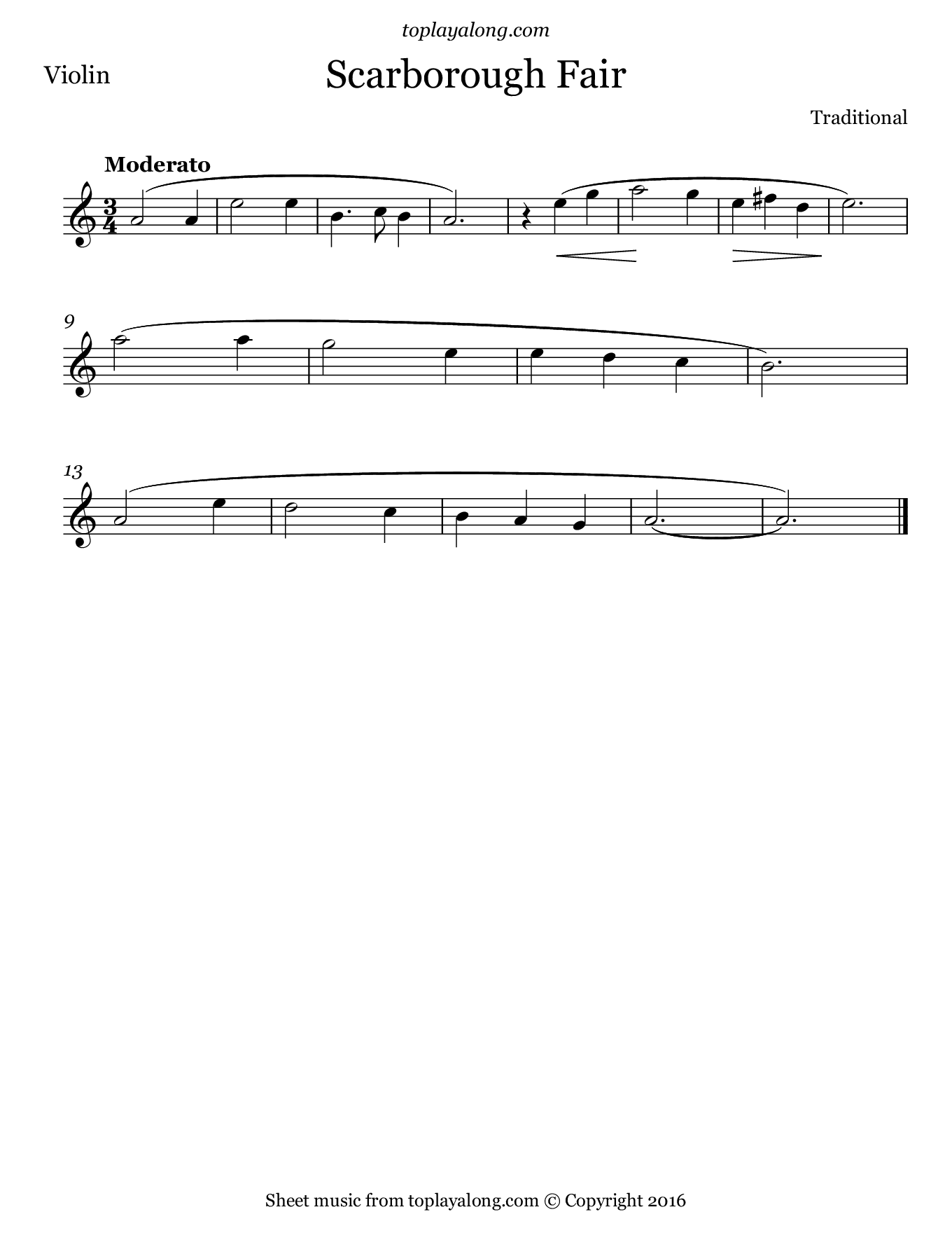 Scarborough Fair. Sheet music for Violin, page 1.