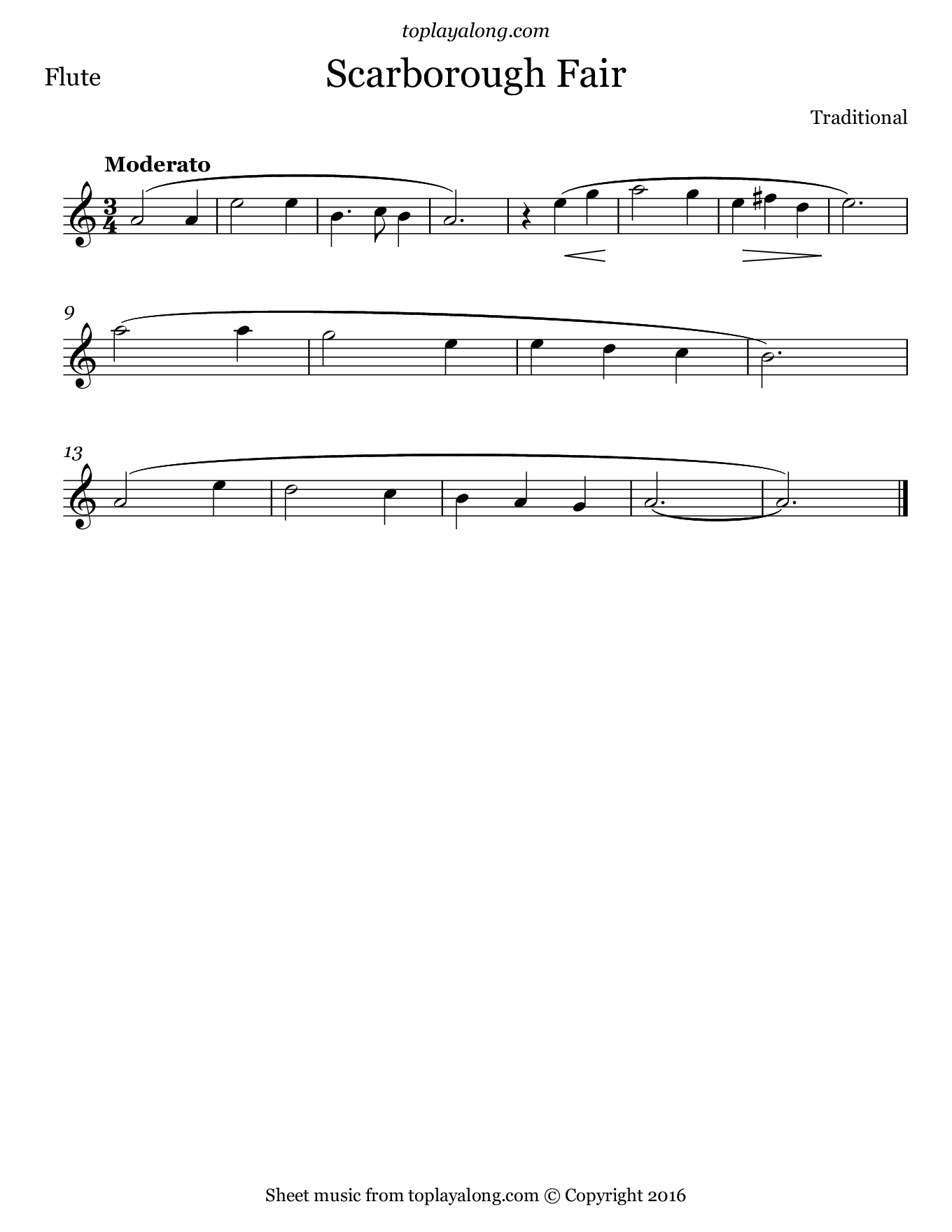Scarborough Fair. Sheet music for Flute, page 1.