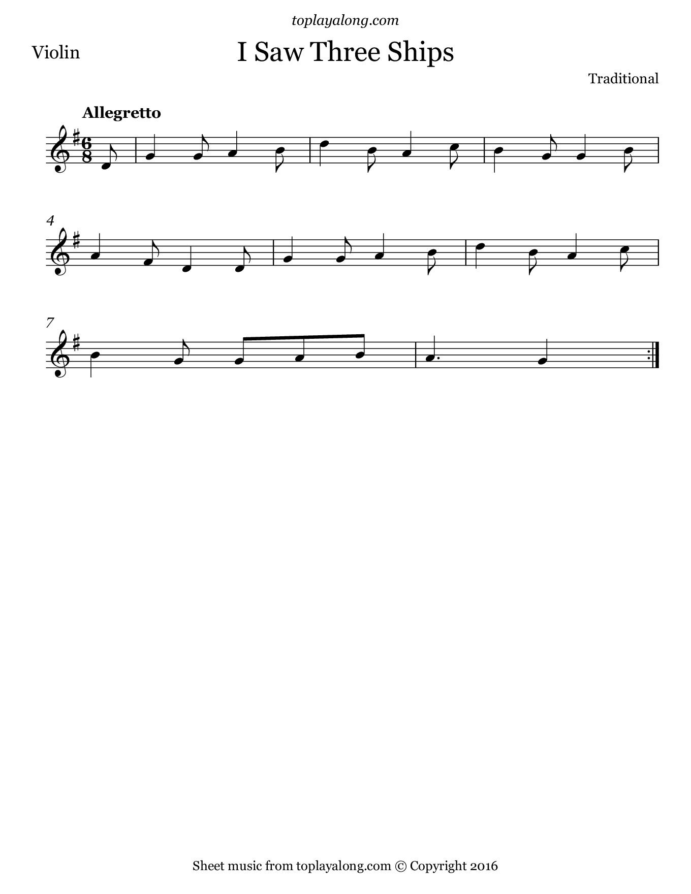 I Saw Three Ships. Sheet music for Violin, page 1.
