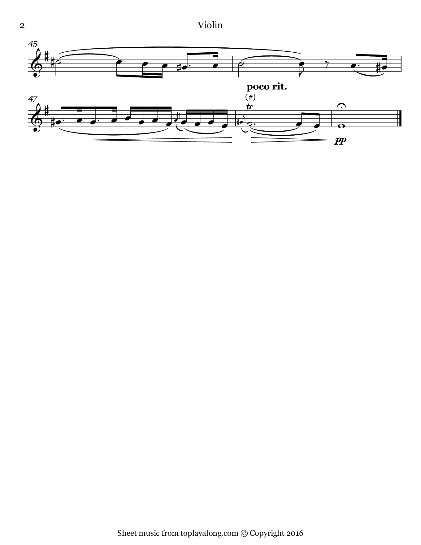 Amarilli, mia bella by Caccini. Sheet music for Violin, page 2.
