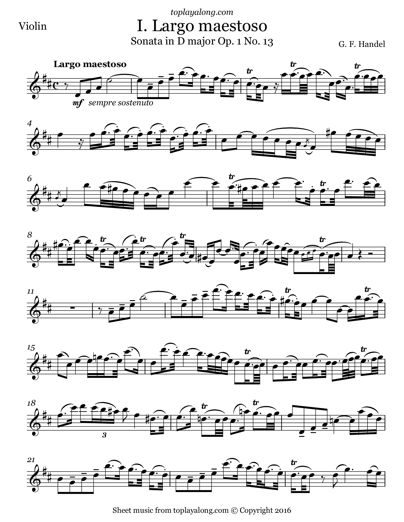 Violin sonata in D major (I. Largo) by Handel. Sheet music for Violin, page 1.