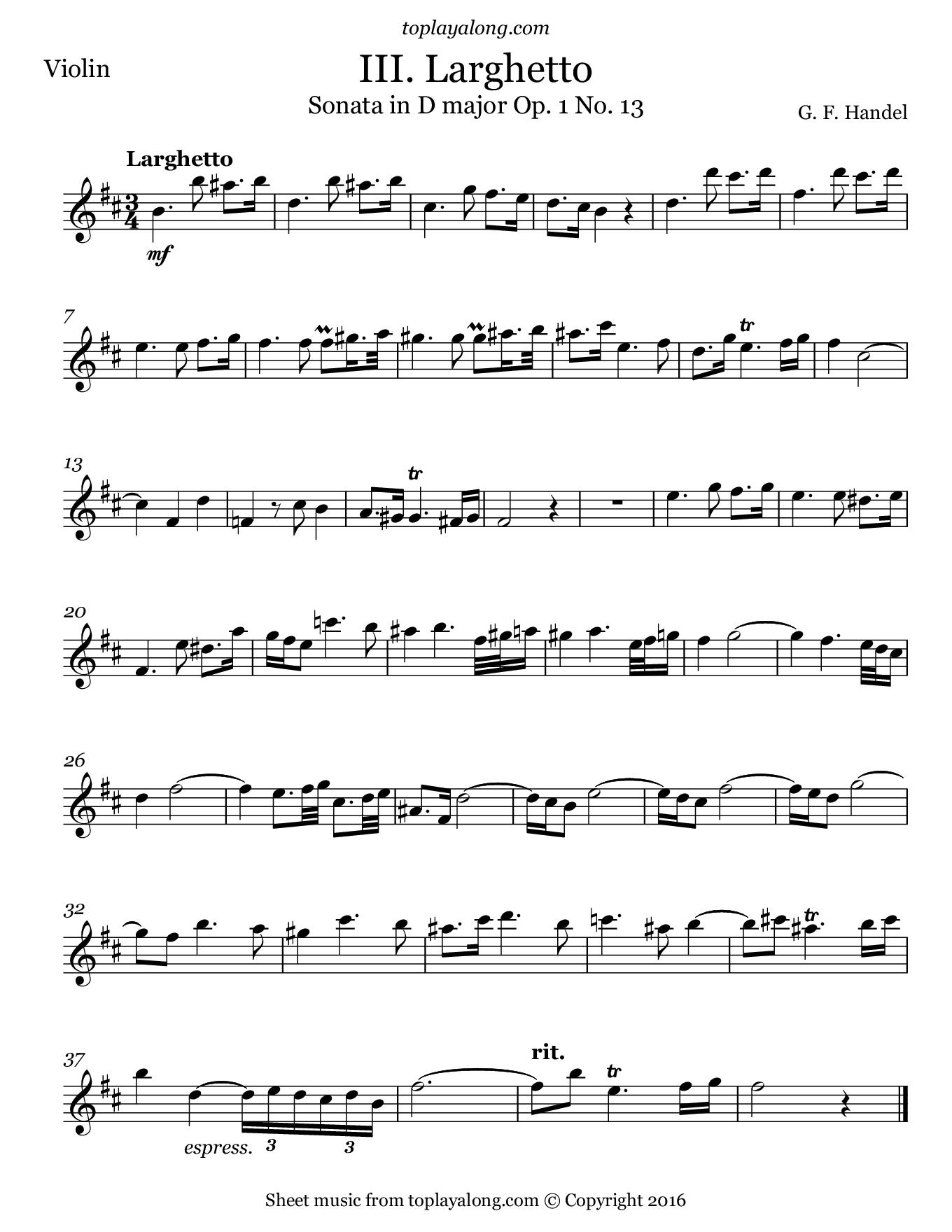 Violin sonata in D major (III. Larghetto) by Handel. Sheet music for Violin, page 1.