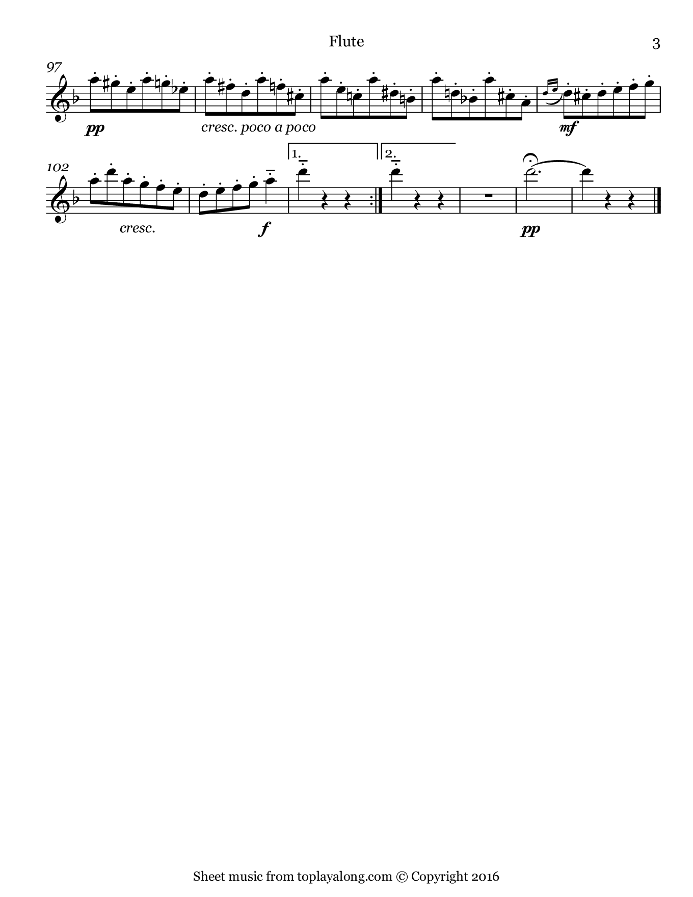 Anitra's Dance from Peer Gynt by Grieg. Sheet music for Flute, page 3.